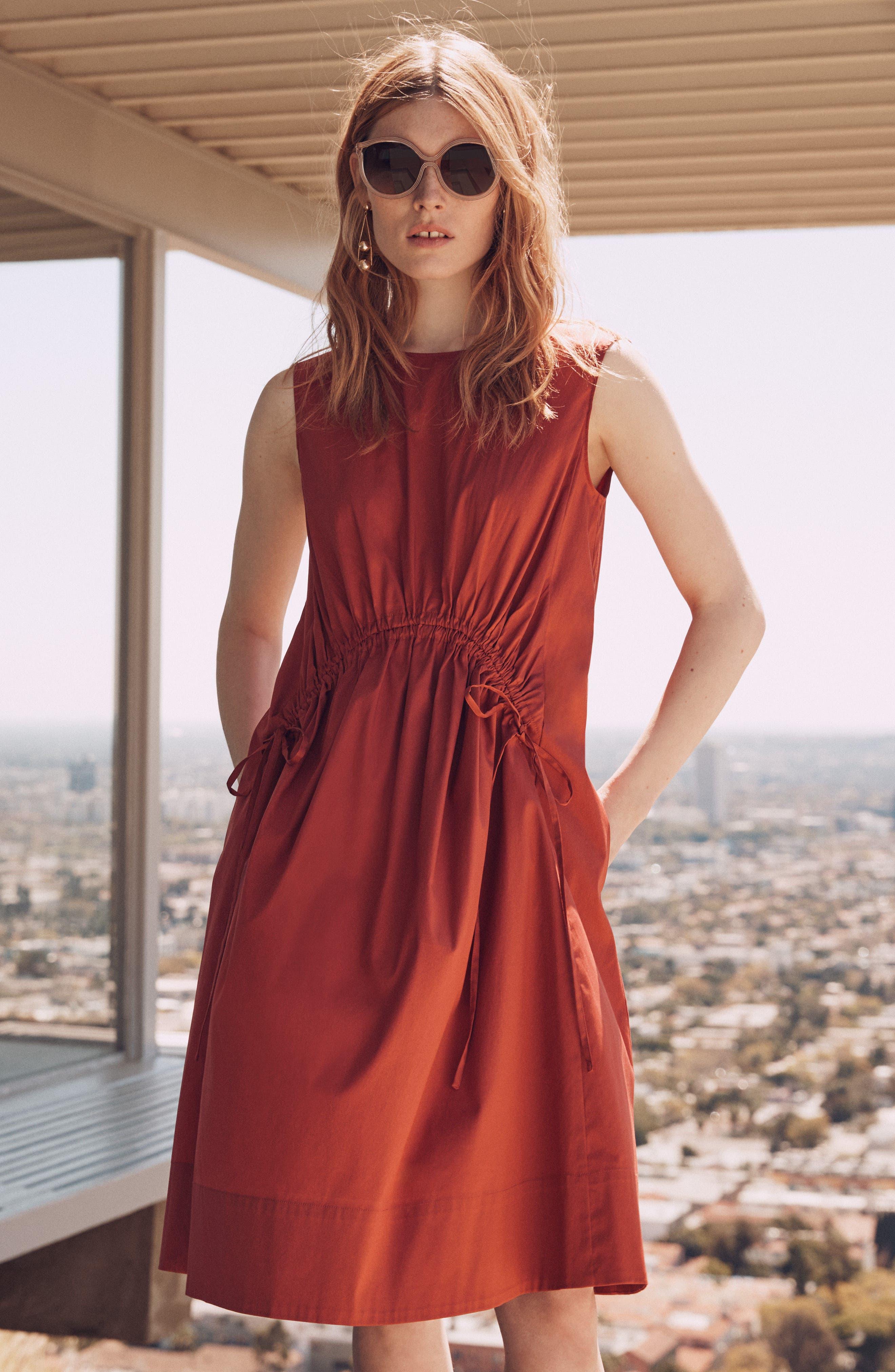 Drawcord Stretch Cotton Blend Dress,                             Alternate thumbnail 8, color,