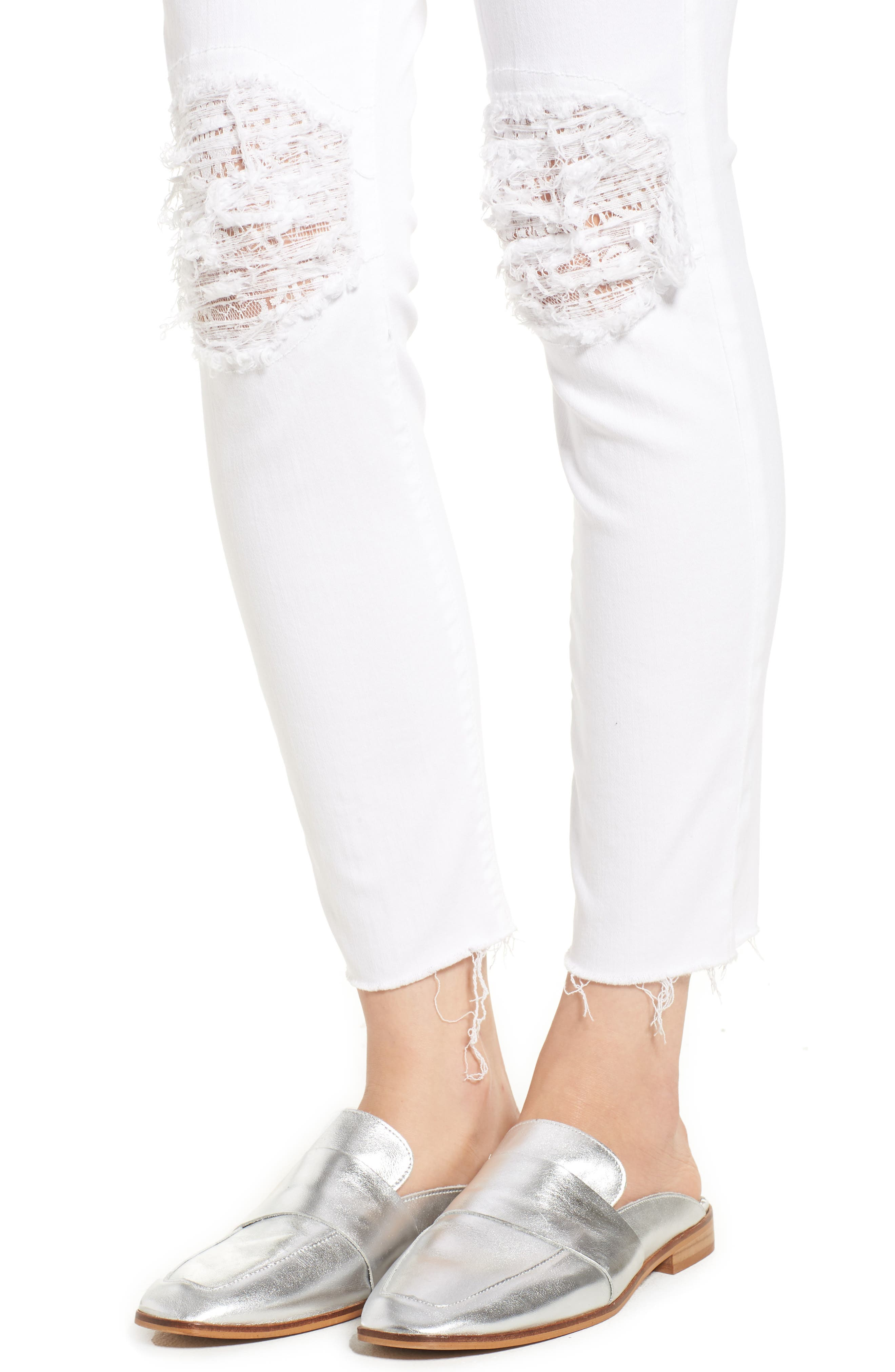 The Looker Frayed Ankle Skinny Jeans,                             Alternate thumbnail 4, color,                             Little Miss Lacey