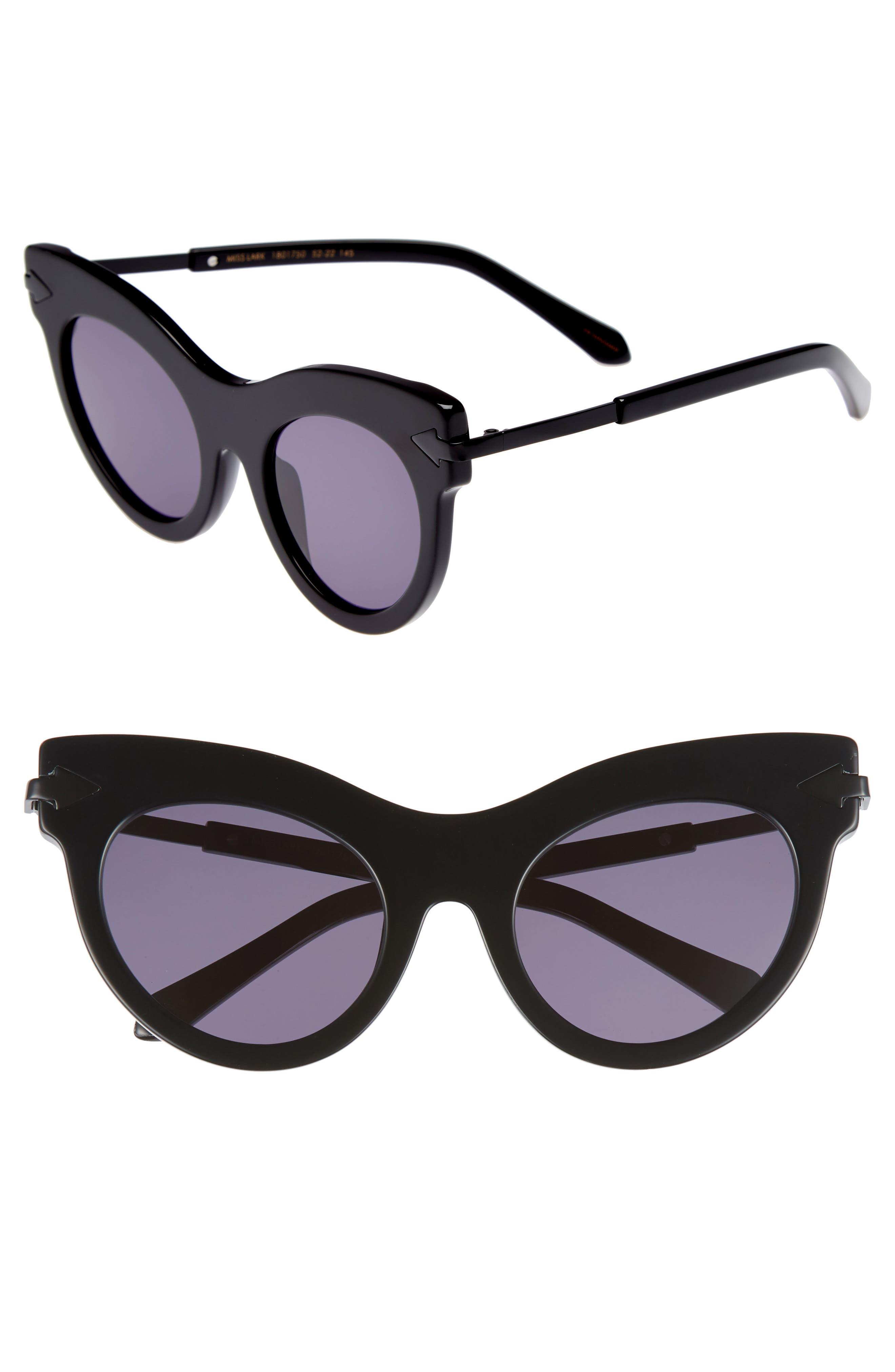 Miss Lark 52mm Cat Eye Sunglasses,                             Main thumbnail 1, color,                             Black