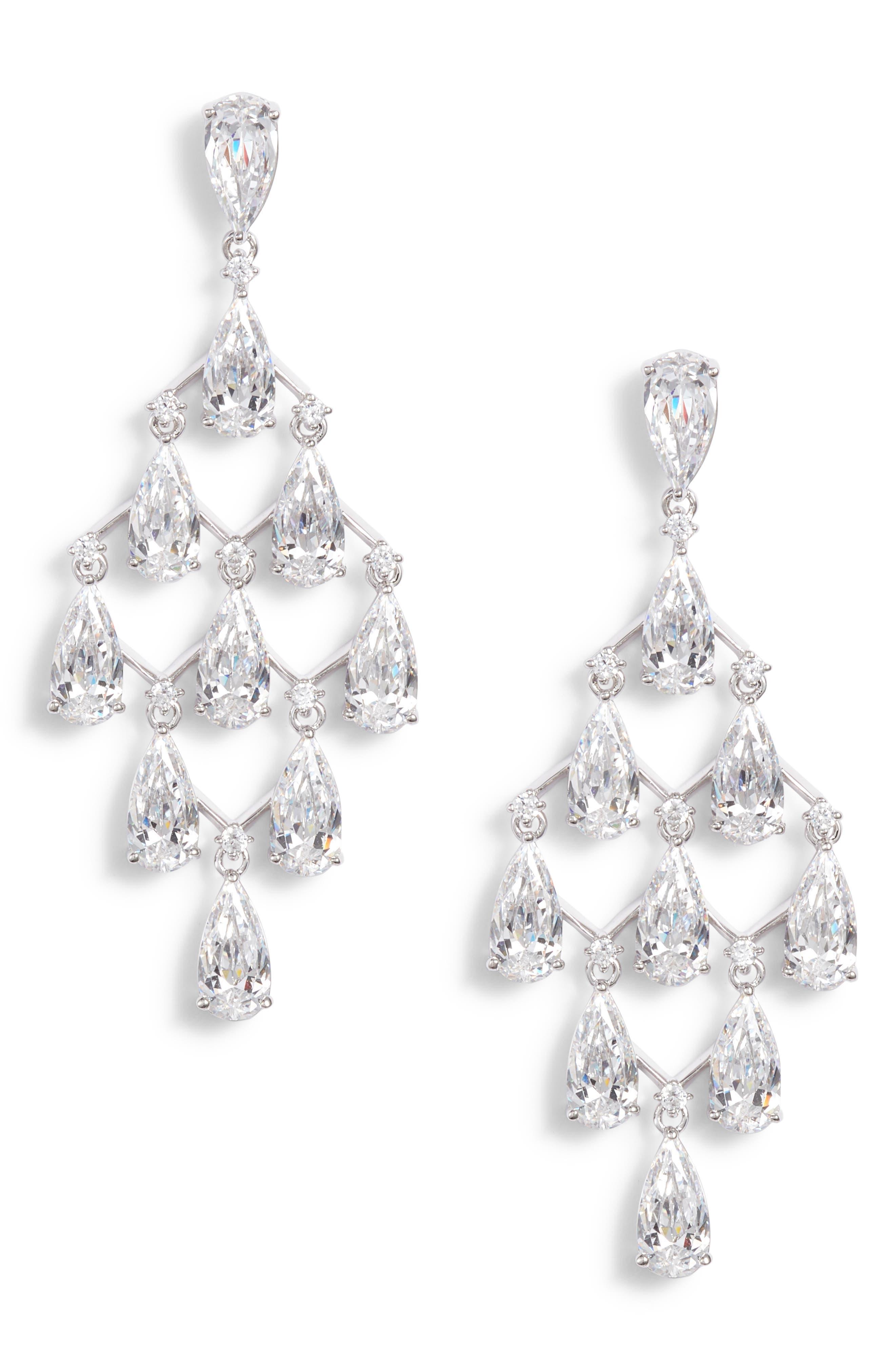 Kite Chandelier Earrings,                             Main thumbnail 1, color,                             Silver