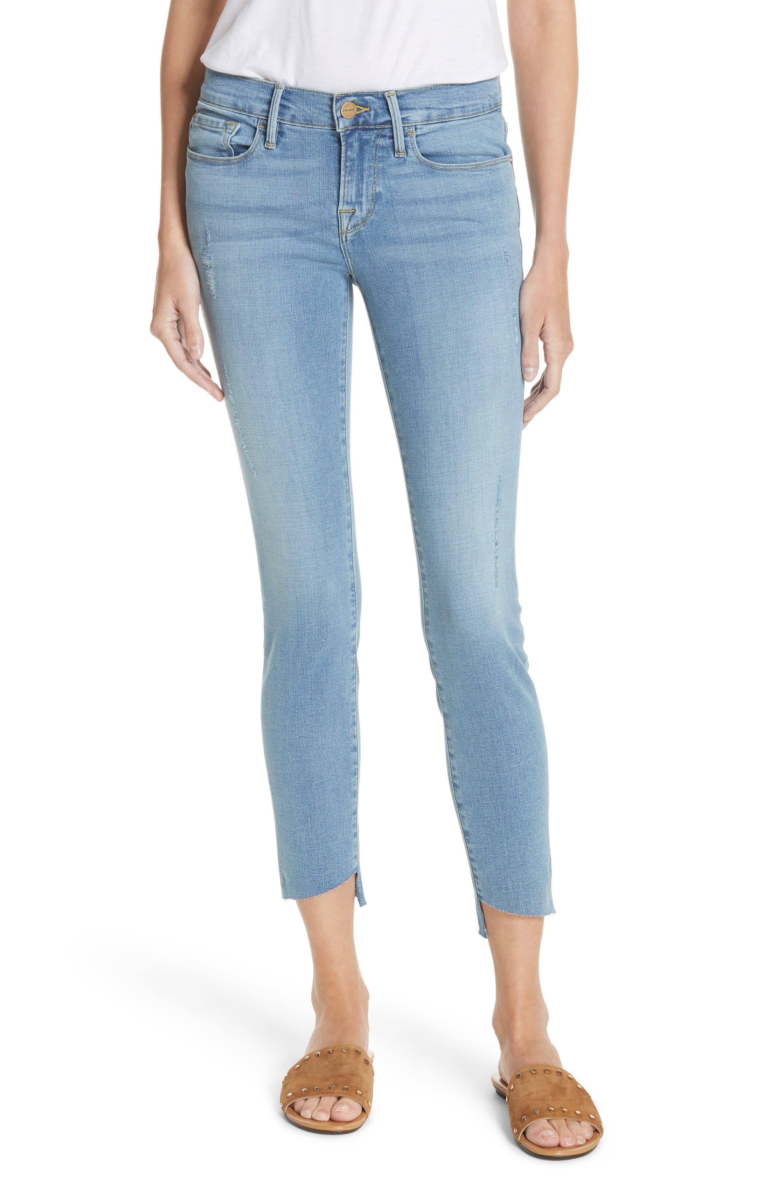 FRAME Le Skinny de Jeanne Raw Step Hem Crop Skinny Jeans (Echo Park)