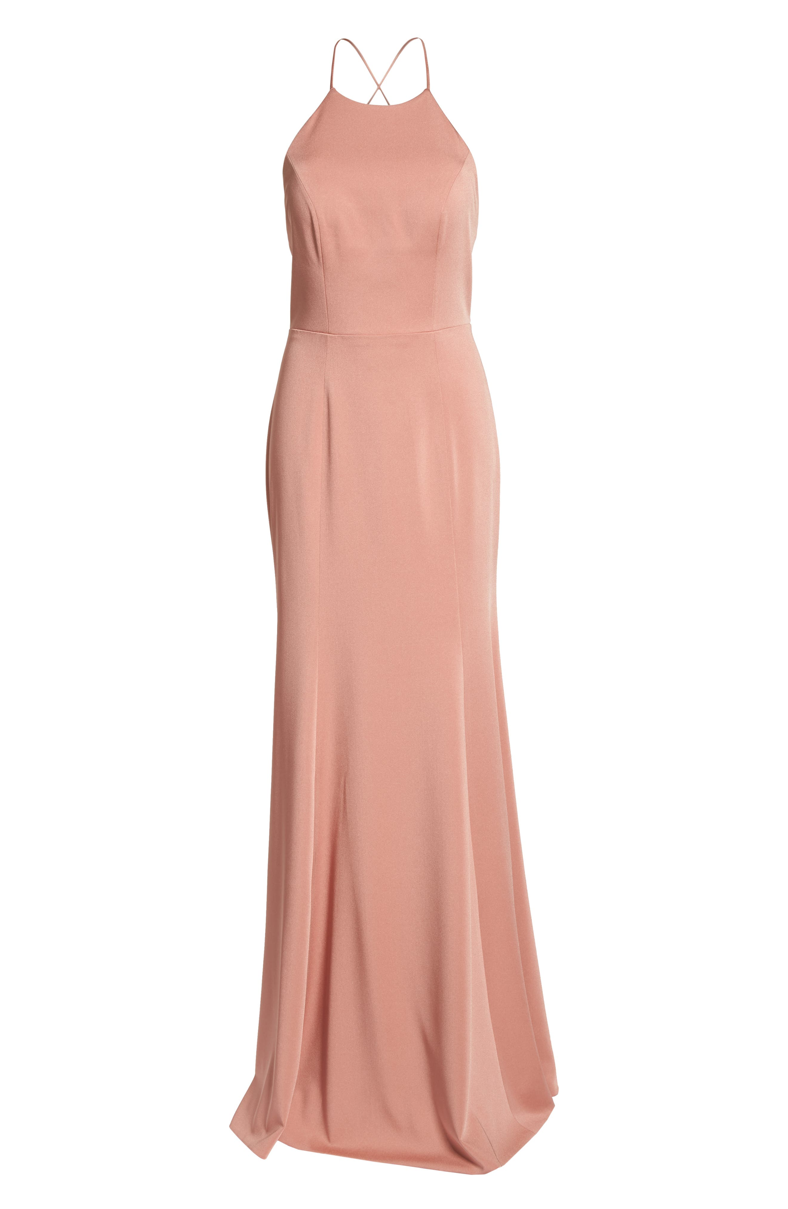 Naomi Luxe Crepe Halter Gown,                             Alternate thumbnail 6, color,                             Sedona Sunset