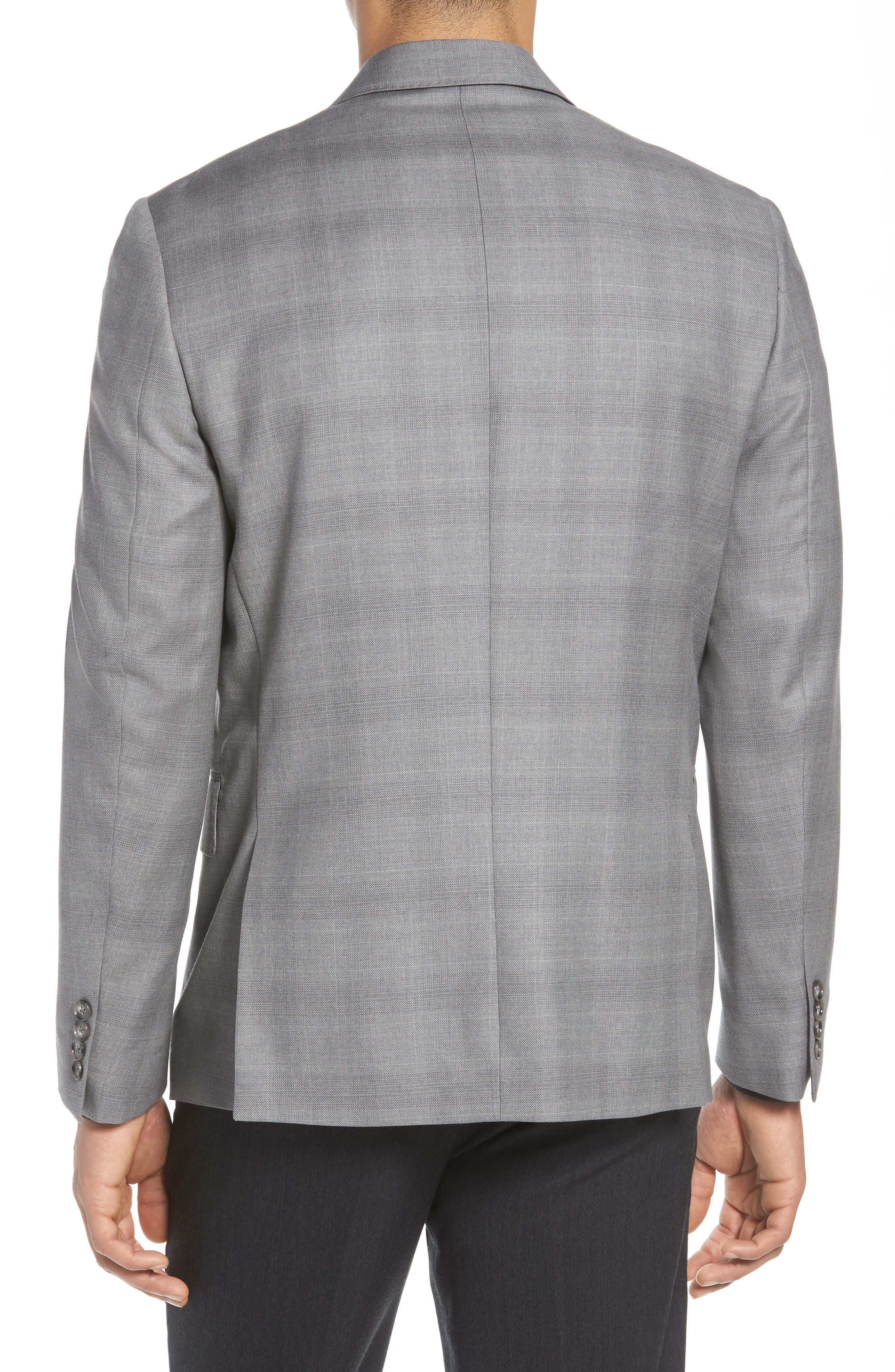 Traditional Fit Windowpane Wool Sport Coat,                             Alternate thumbnail 2, color,                             Grey