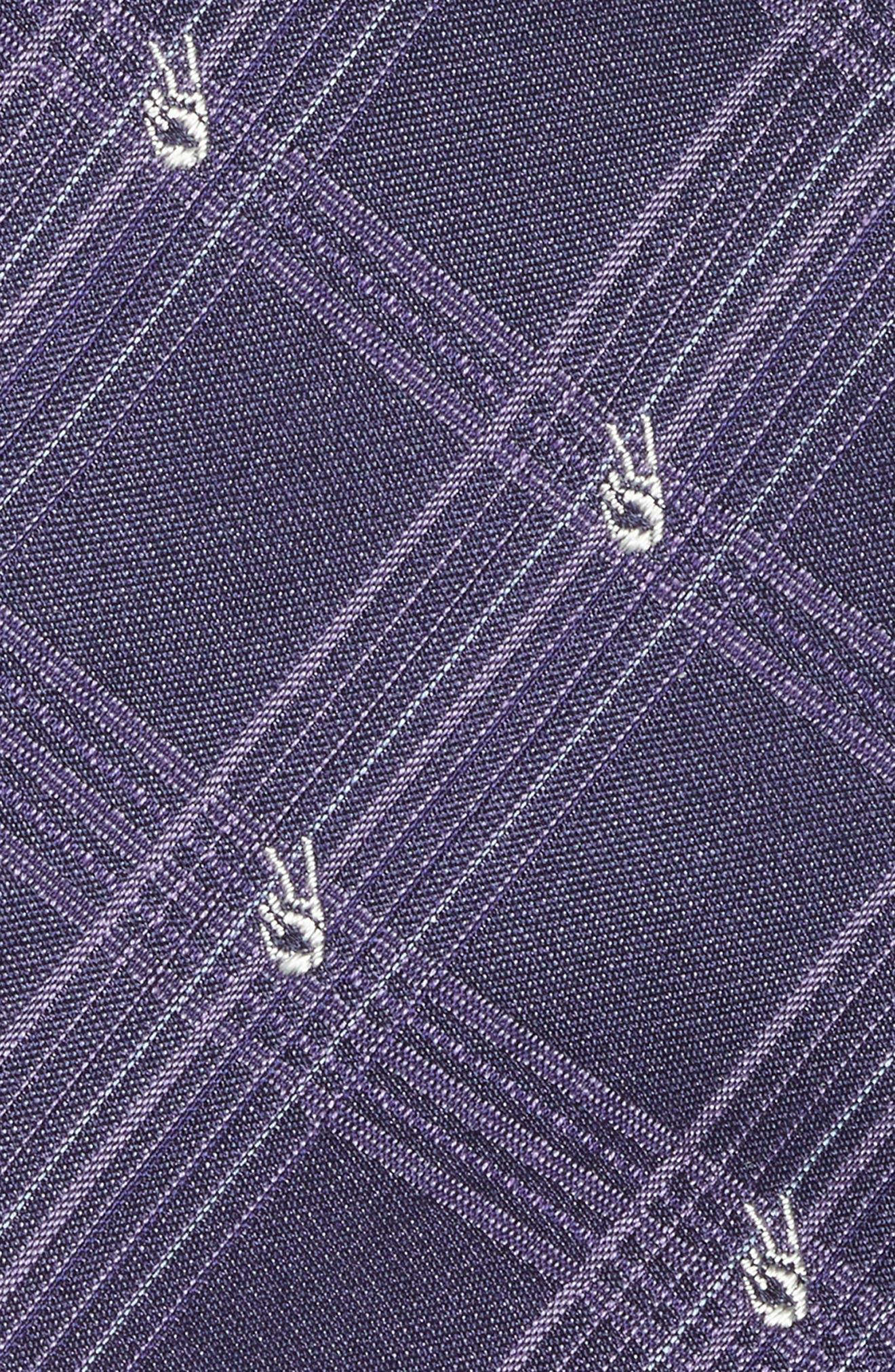 Peace Sign Plaid Silk Tie,                             Alternate thumbnail 2, color,                             Purple