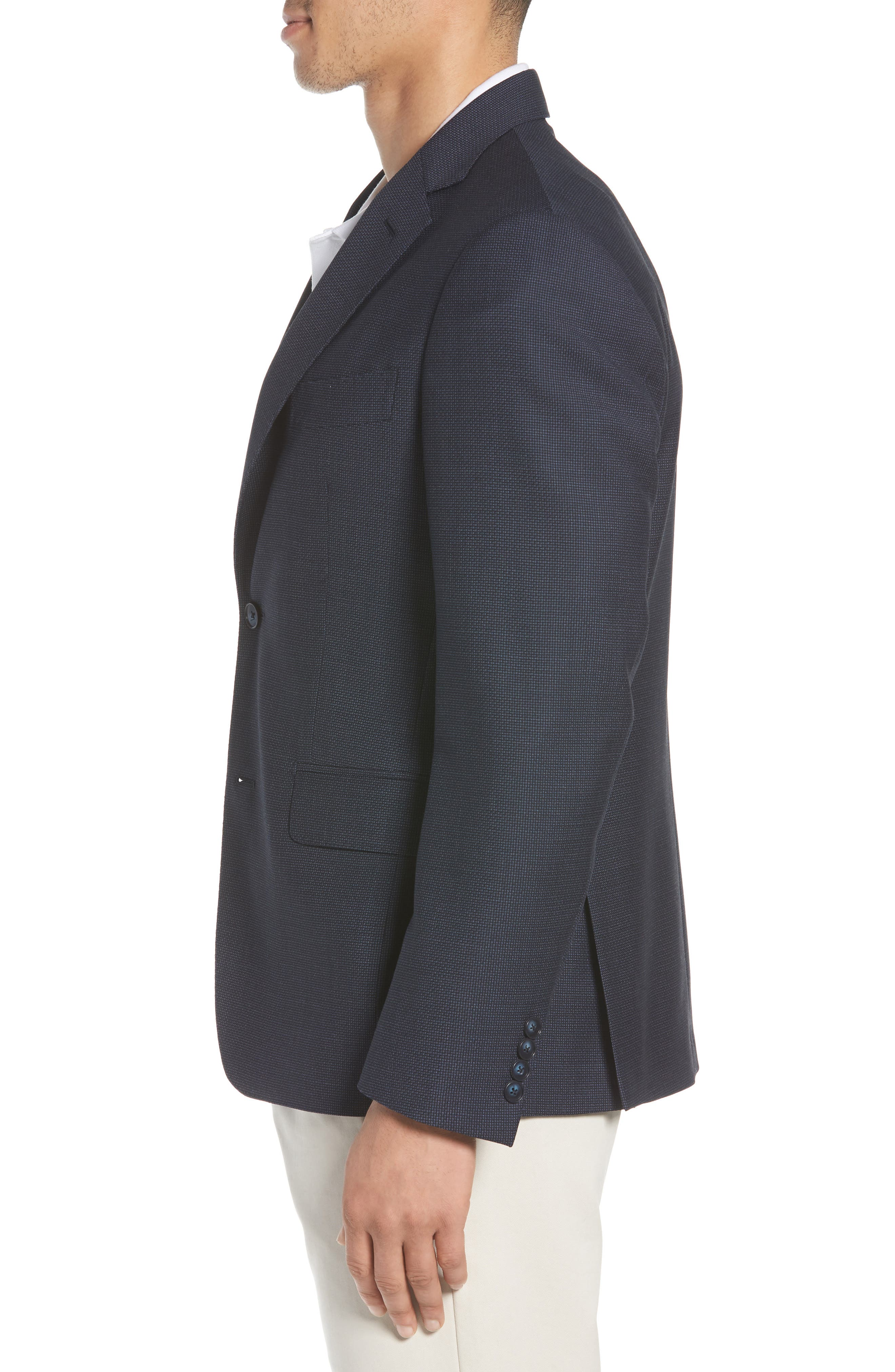 Traditional Fit Basket Weave Wool Sport Coat,                             Alternate thumbnail 3, color,                             Navy