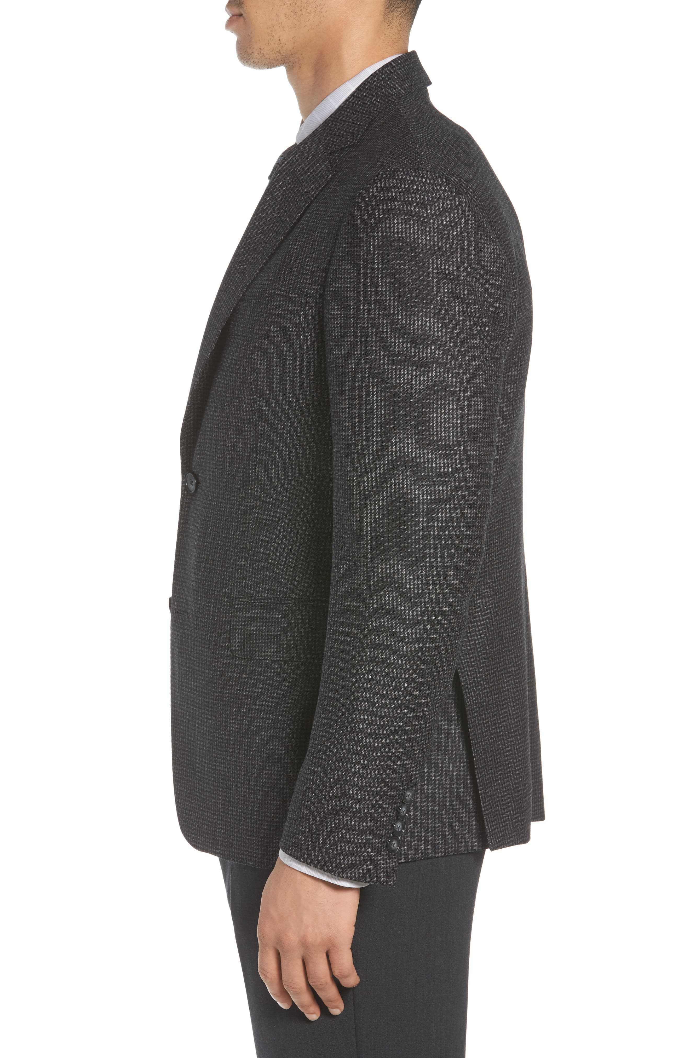 Traditional Fit Microcheck Wool Sport Coat,                             Alternate thumbnail 2, color,                             Black