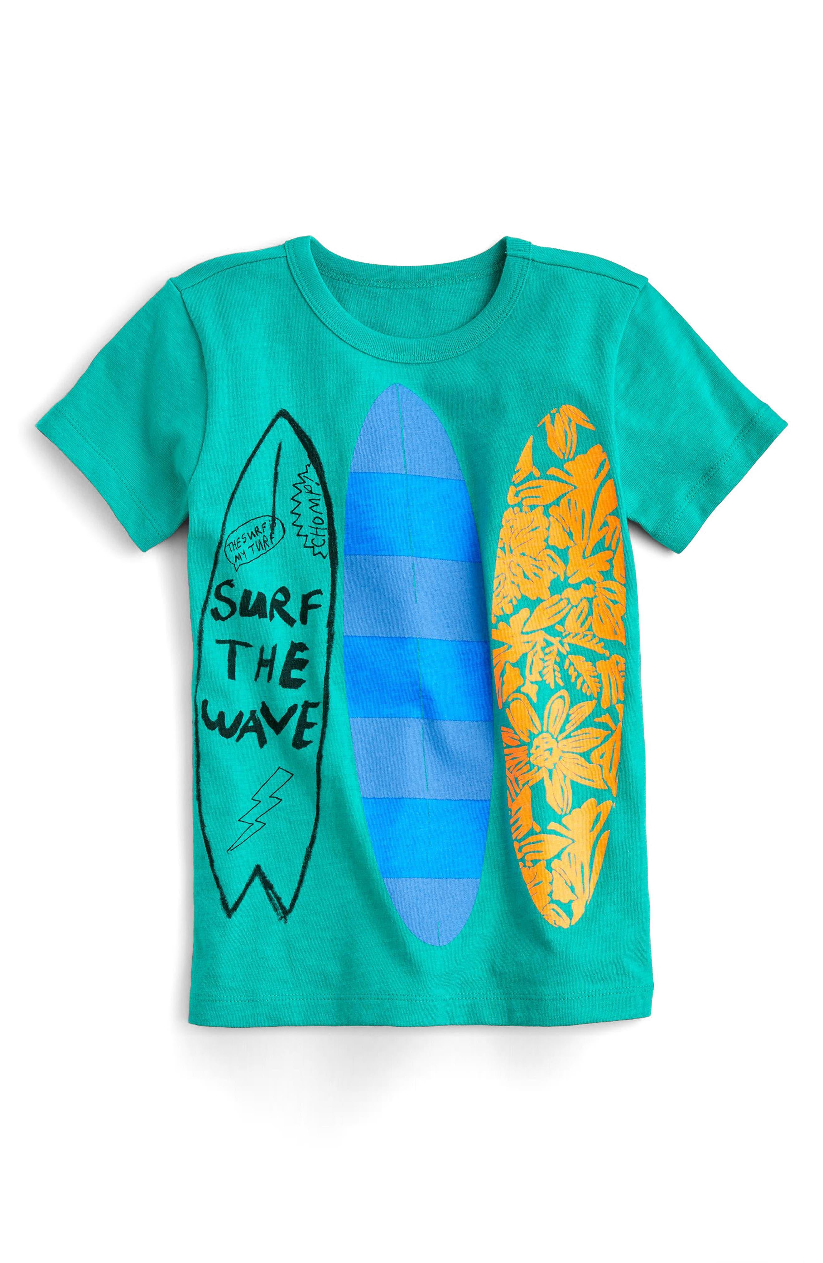 Surf the Wave Graphic T-Shirt,                             Main thumbnail 1, color,                             Emerald Sea