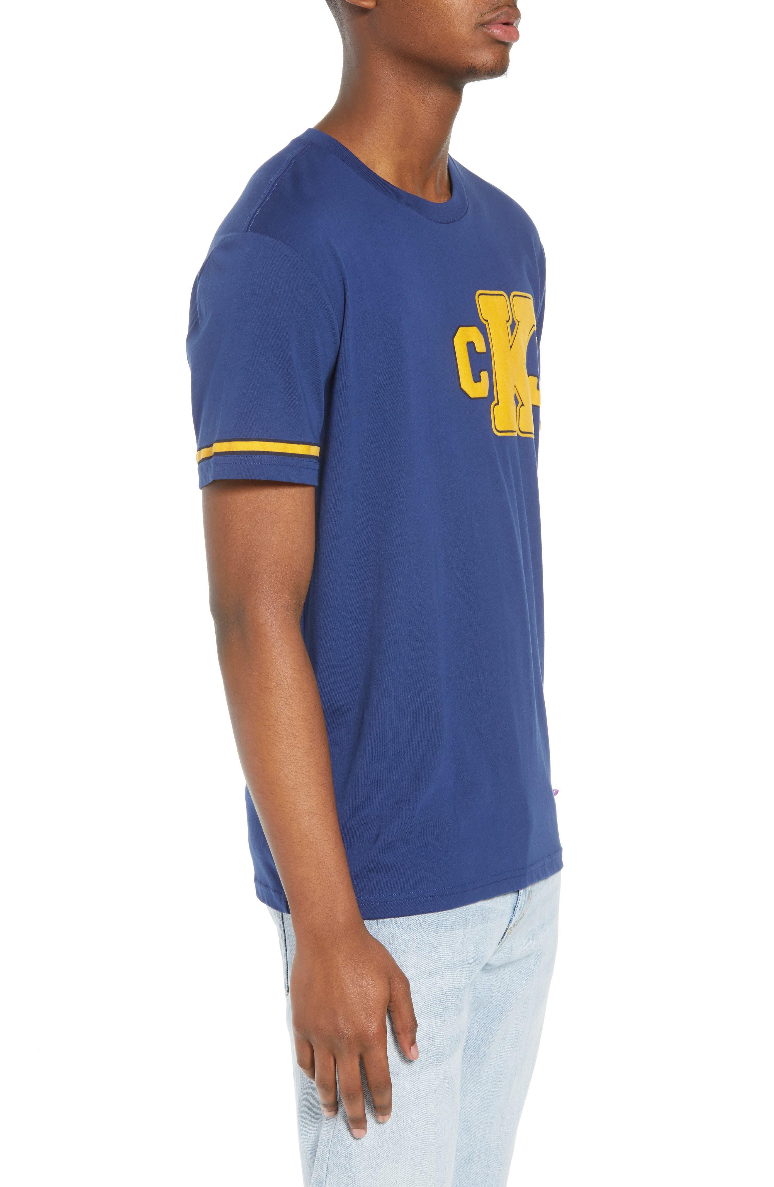 Calvin Klein Varsity T-Shirt,                             Alternate thumbnail 3, color,                             Ink Stone