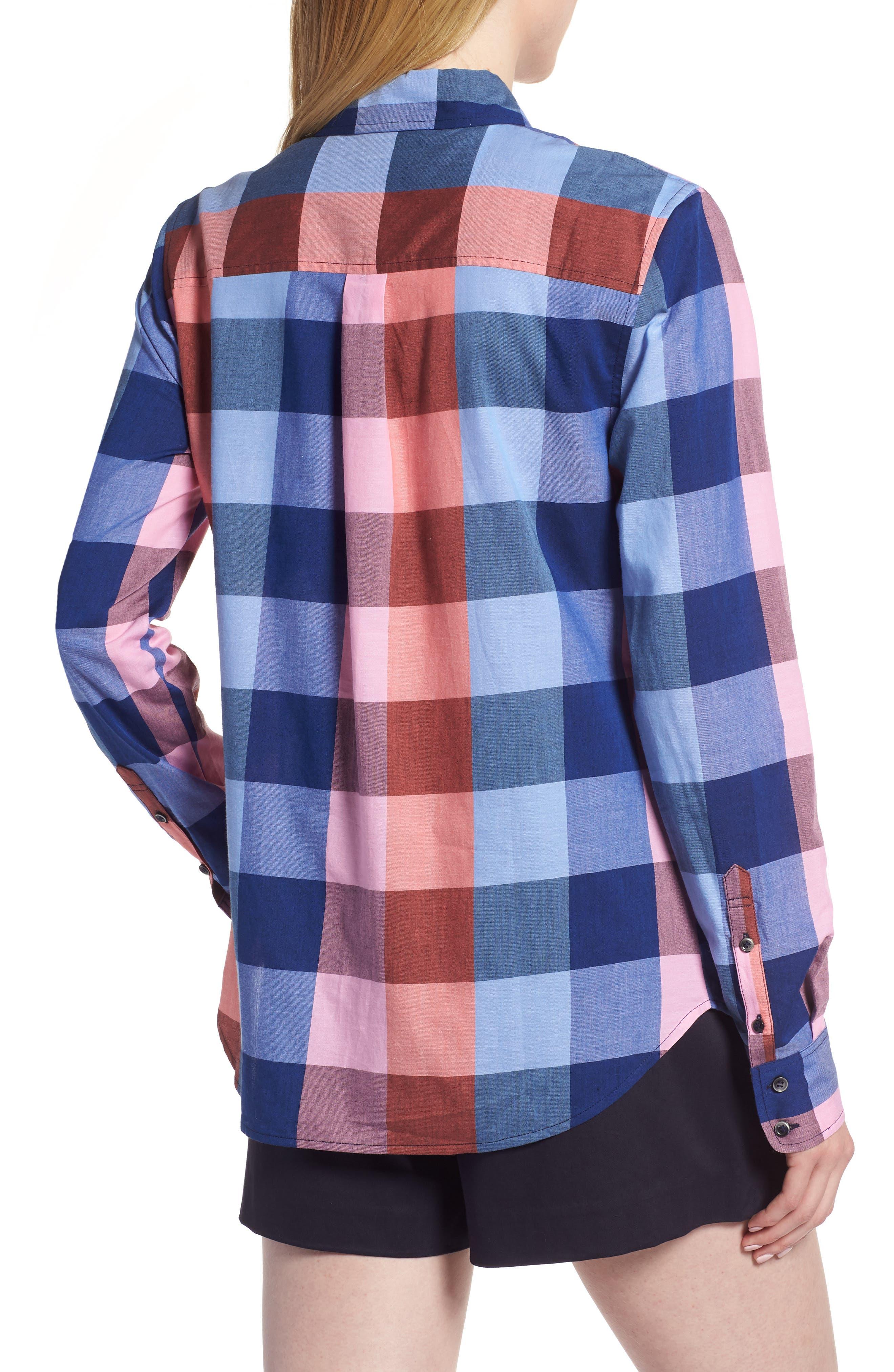 Plaid Cotton Button-Down Shirt,                             Alternate thumbnail 2, color,                             Blue- Pink Plaid