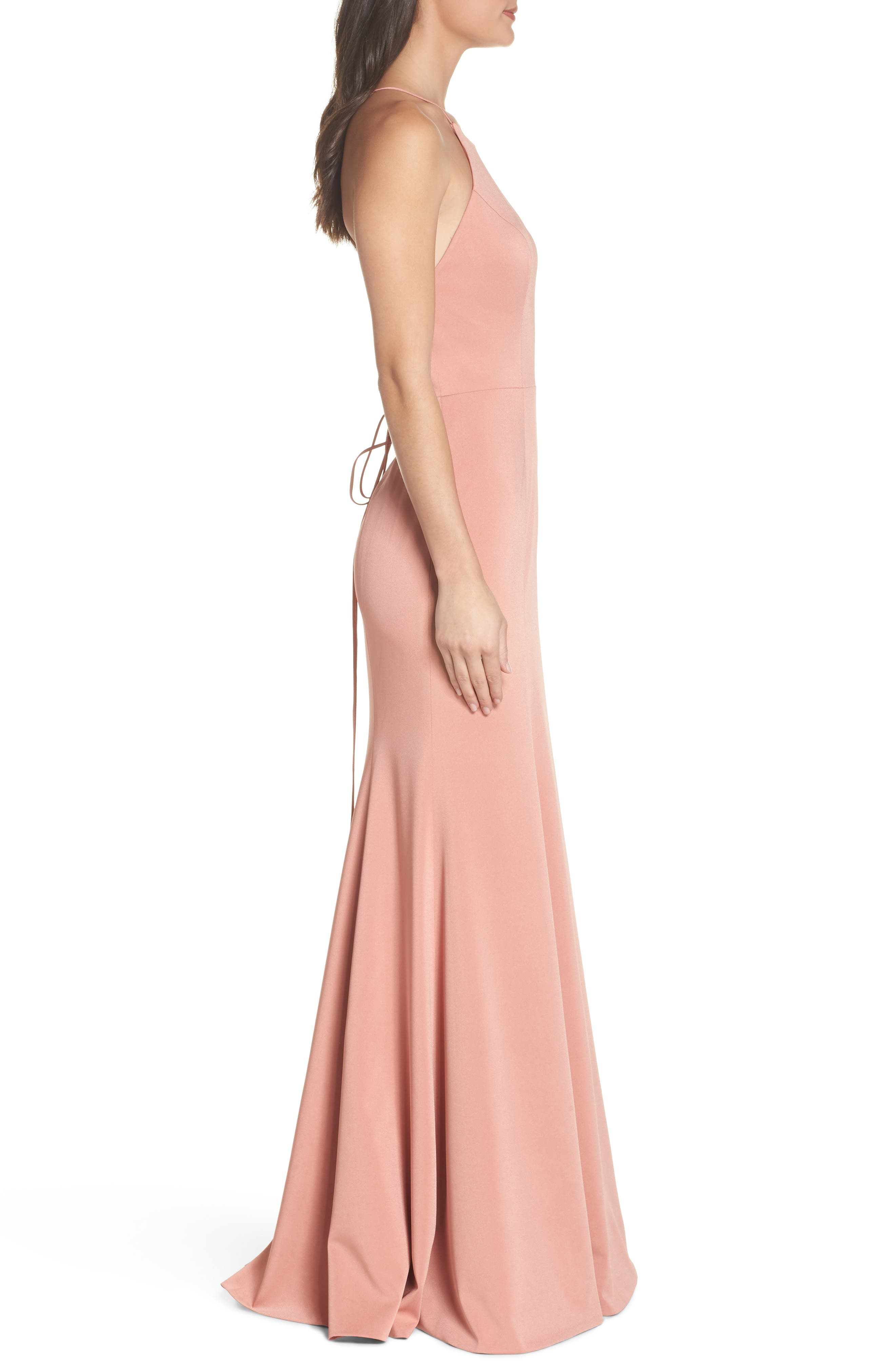 Naomi Luxe Crepe Halter Gown,                             Alternate thumbnail 3, color,                             Sedona Sunset