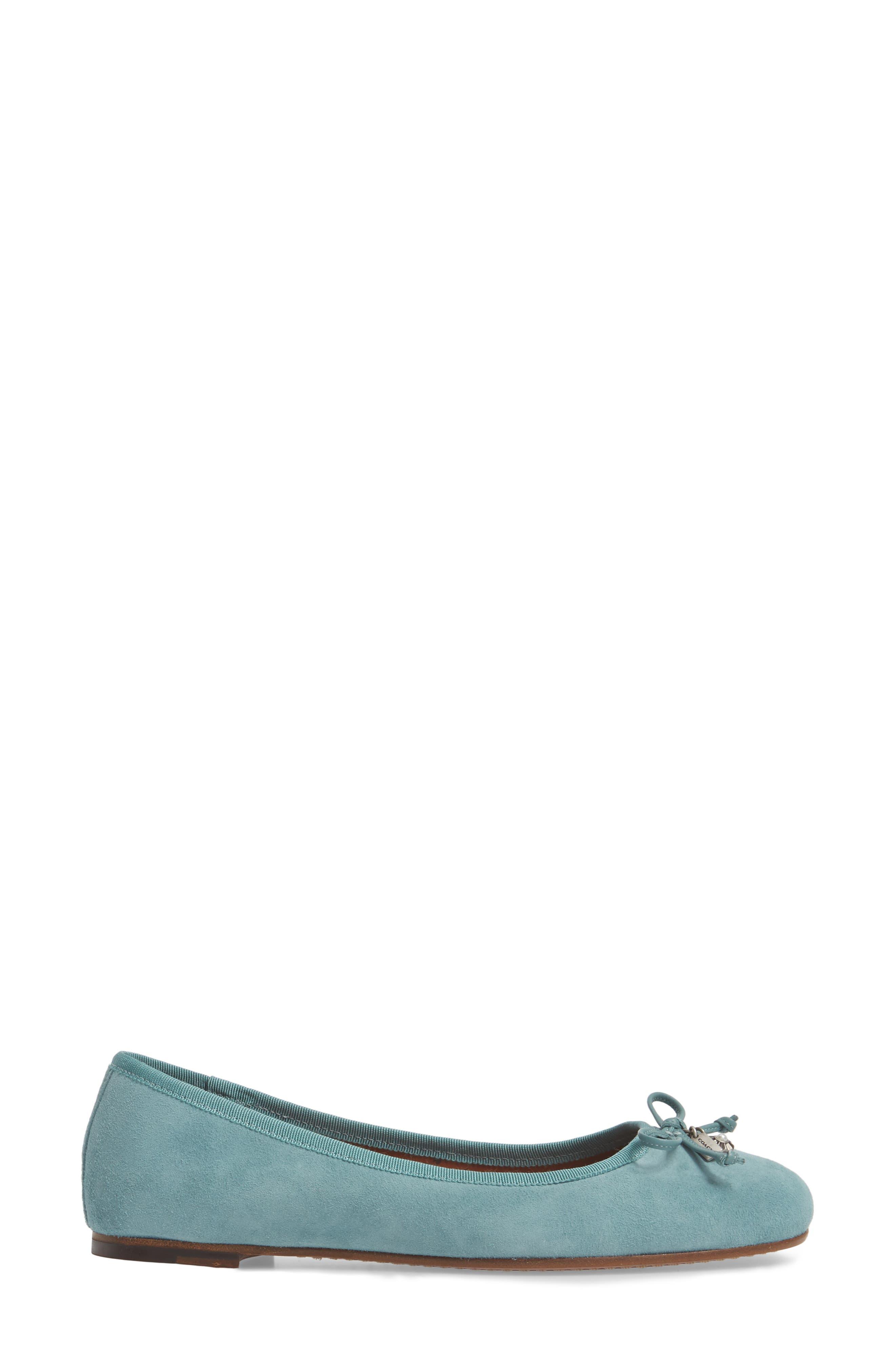 Lola Ballet Flat,                             Alternate thumbnail 3, color,                             Marine Leather