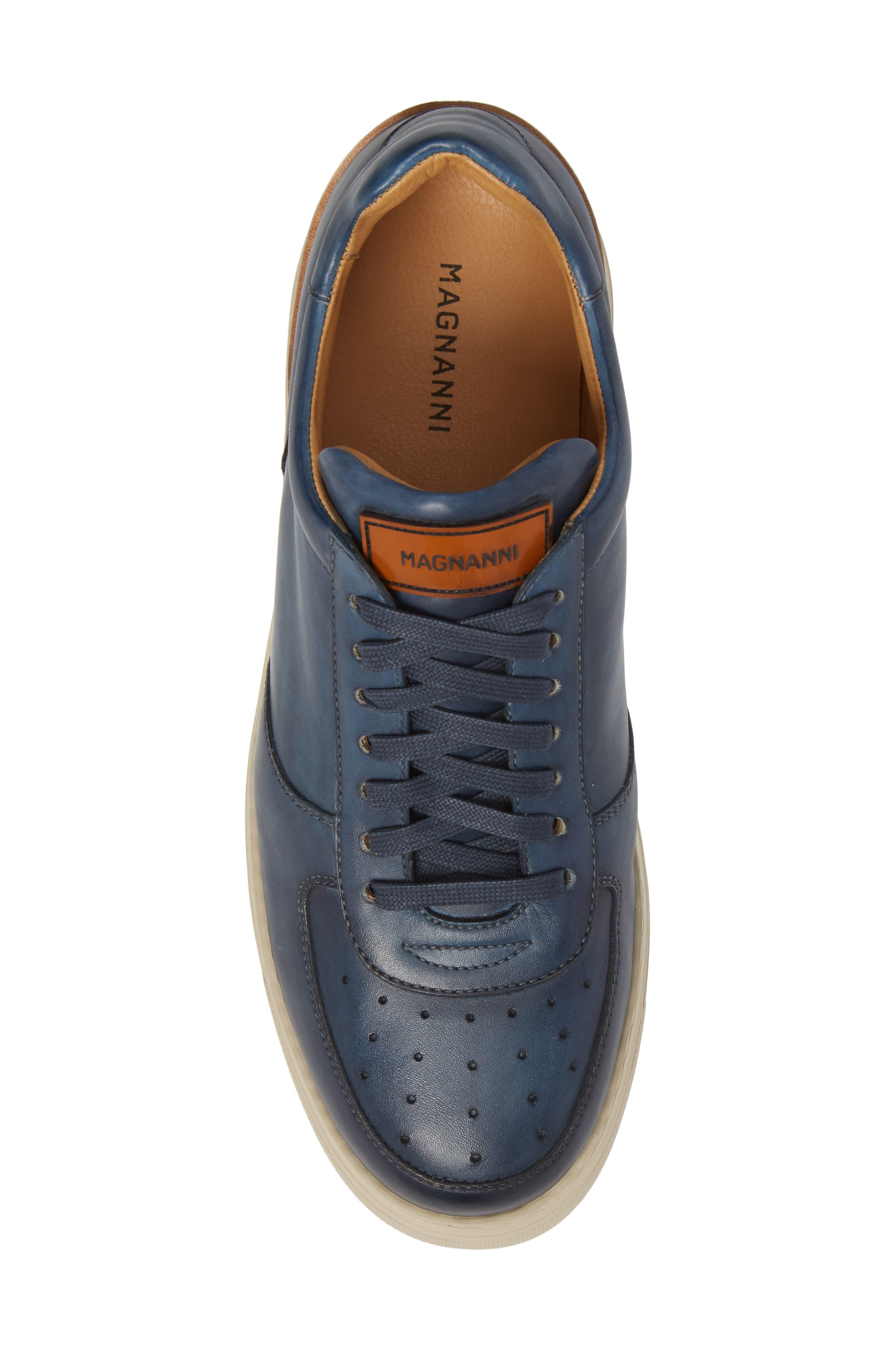 Vada Lo Lace Up Sneaker,                             Alternate thumbnail 5, color,                             Blue Leather