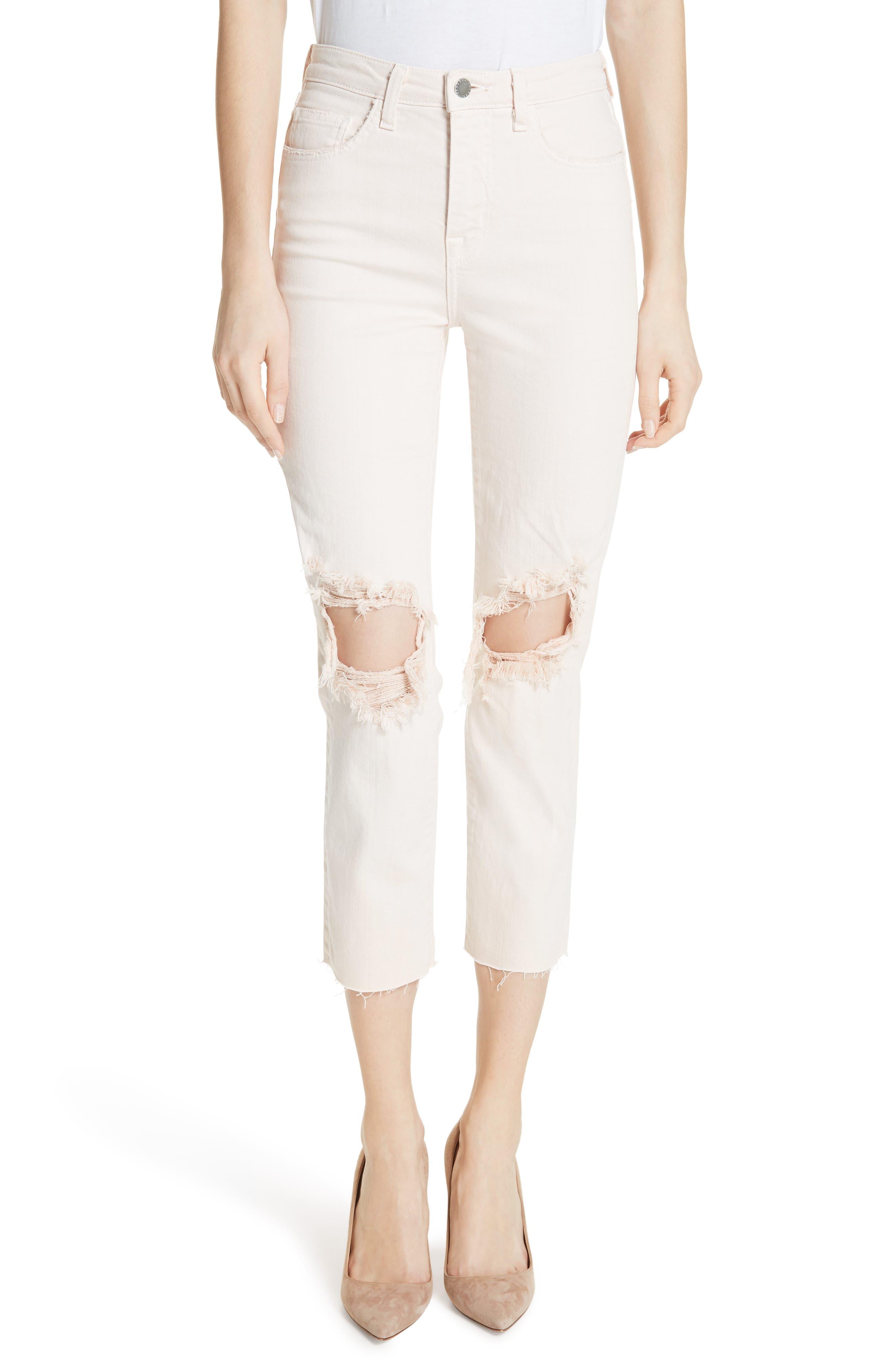 Audrina Ripped Straight Leg Crop Jeans,                             Main thumbnail 1, color,                             Quartz Worn Destruct