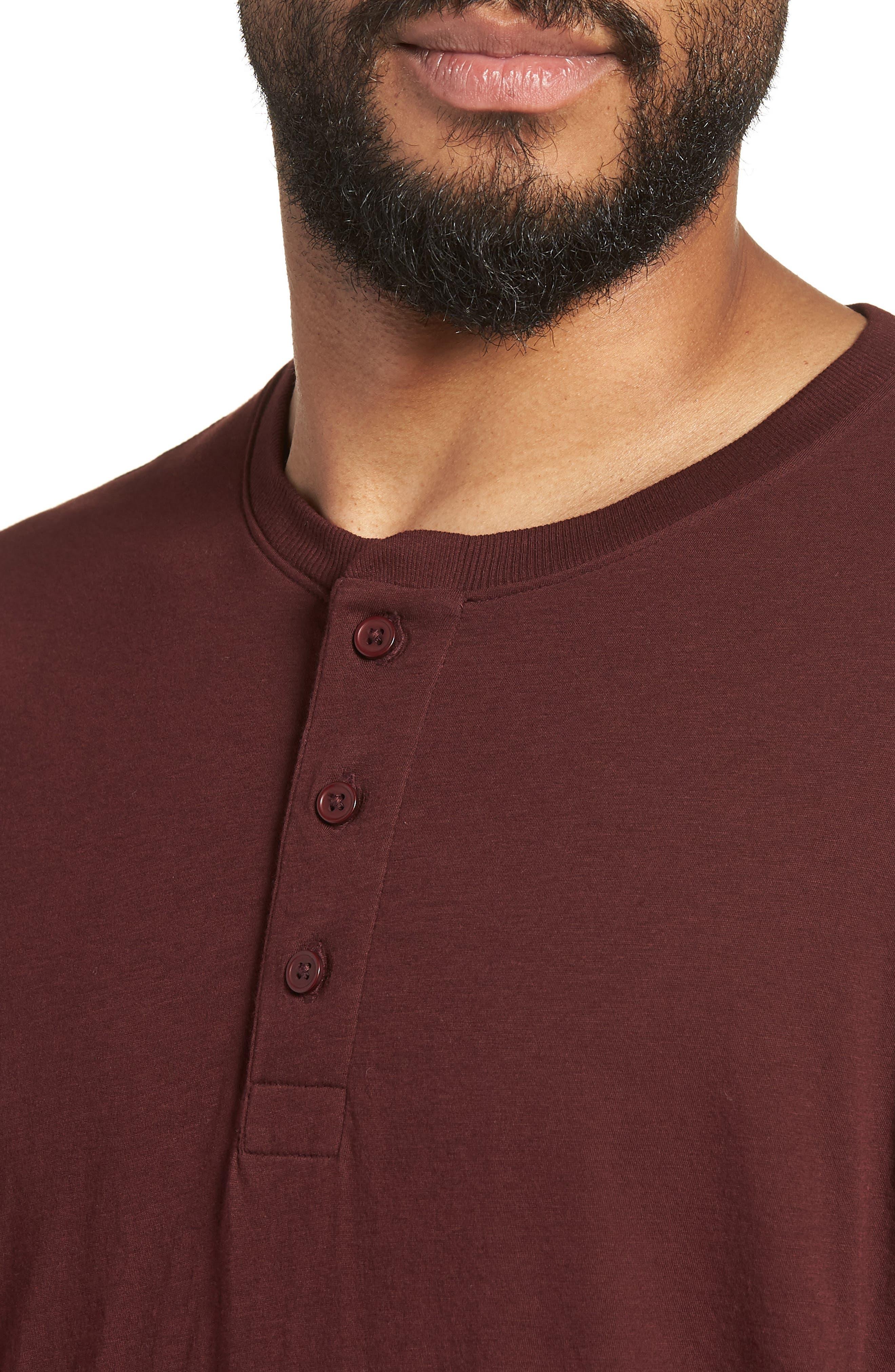 Layered Henley T-Shirt,                             Alternate thumbnail 4, color,                             Black Cherry