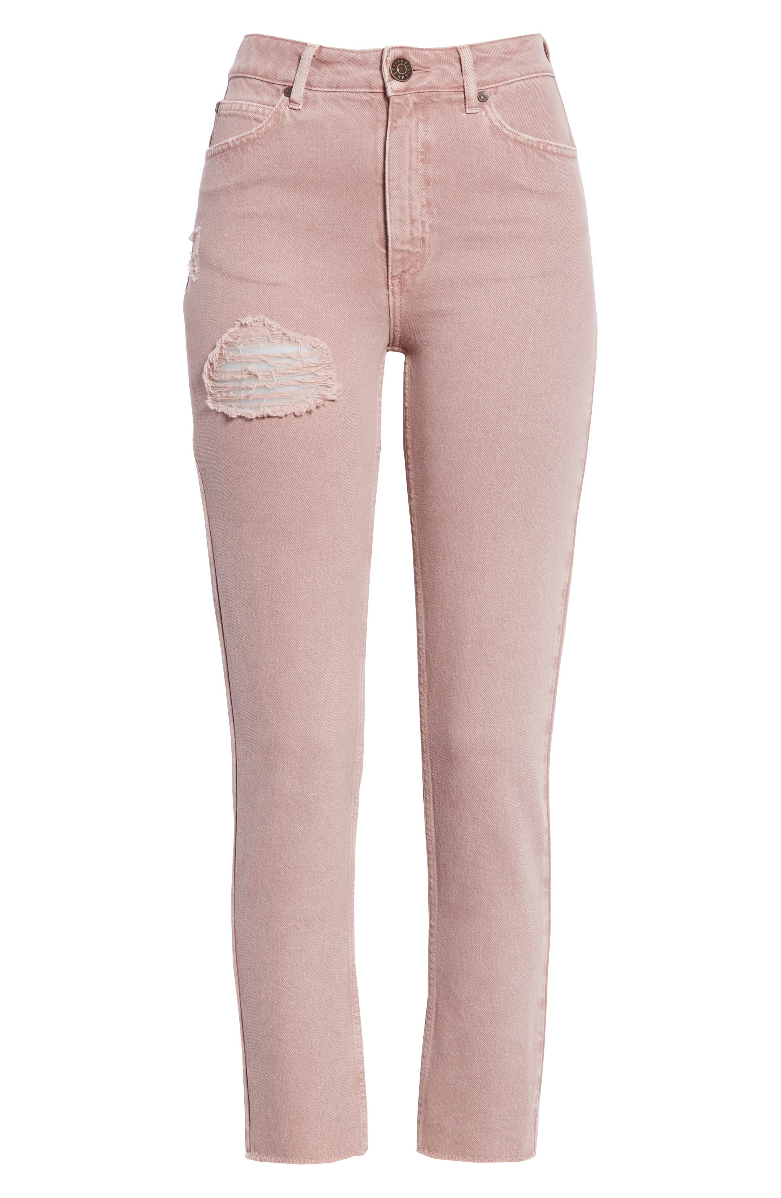 Ripped Raw Edge Jeans,                             Alternate thumbnail 6, color,                             Rose