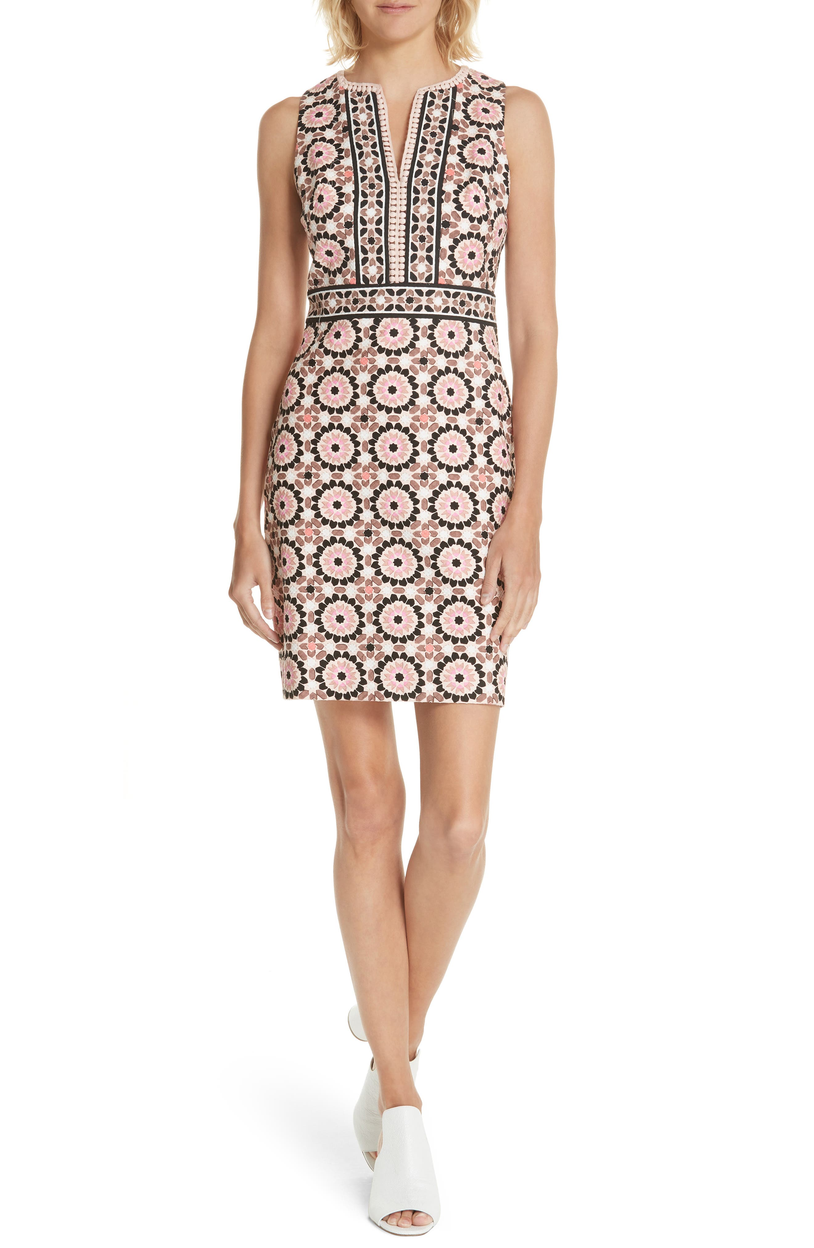 floral mosaic jacquard sheath dress,                             Main thumbnail 1, color,                             Pearl Pink Multi