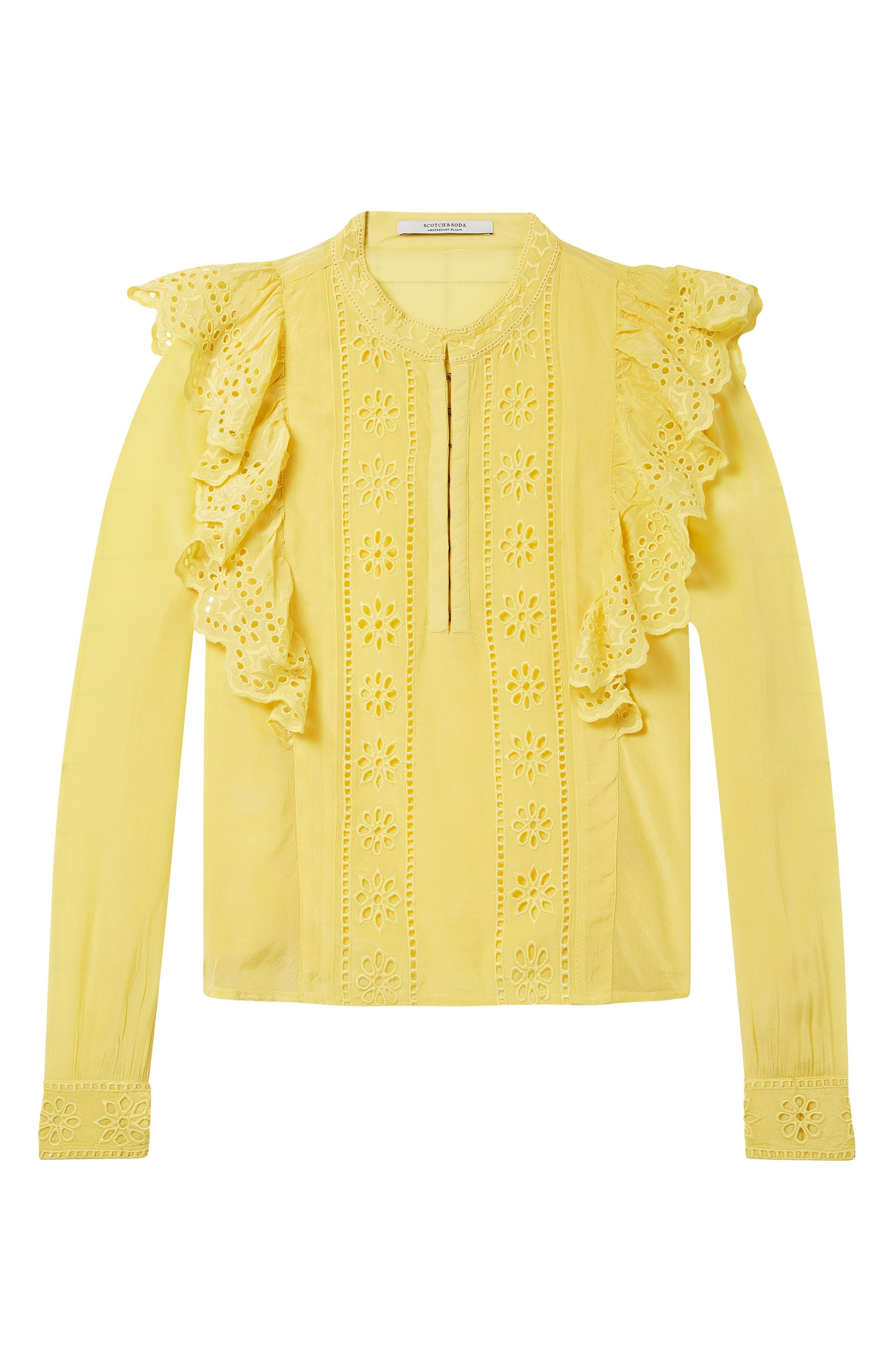 Ruffle Embroidered Eyelet Top,                             Alternate thumbnail 5, color,                             2118 Cheddar