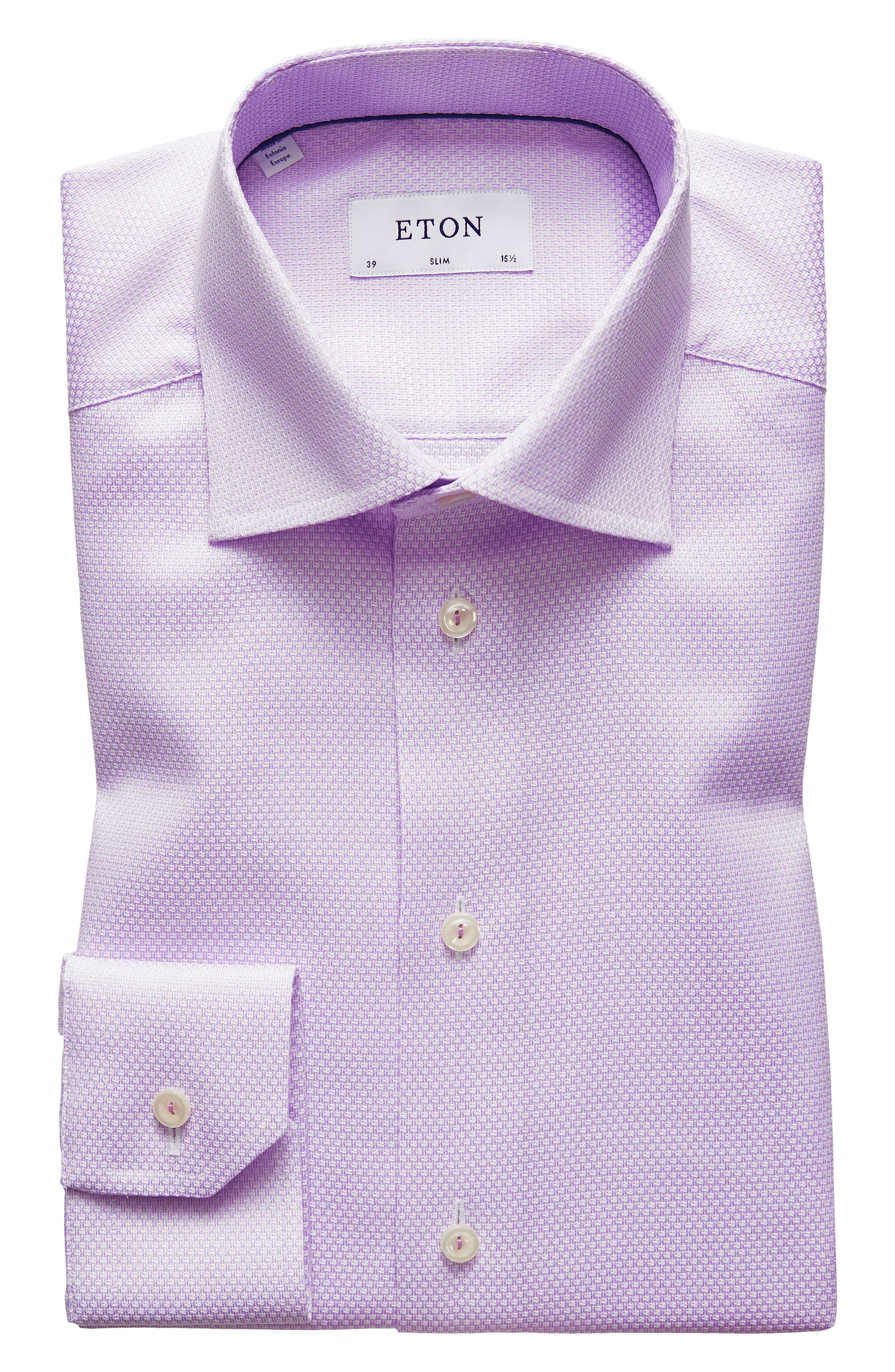Slim Fit Textured Solid Dress Shirt,                             Alternate thumbnail 7, color,                             Purple