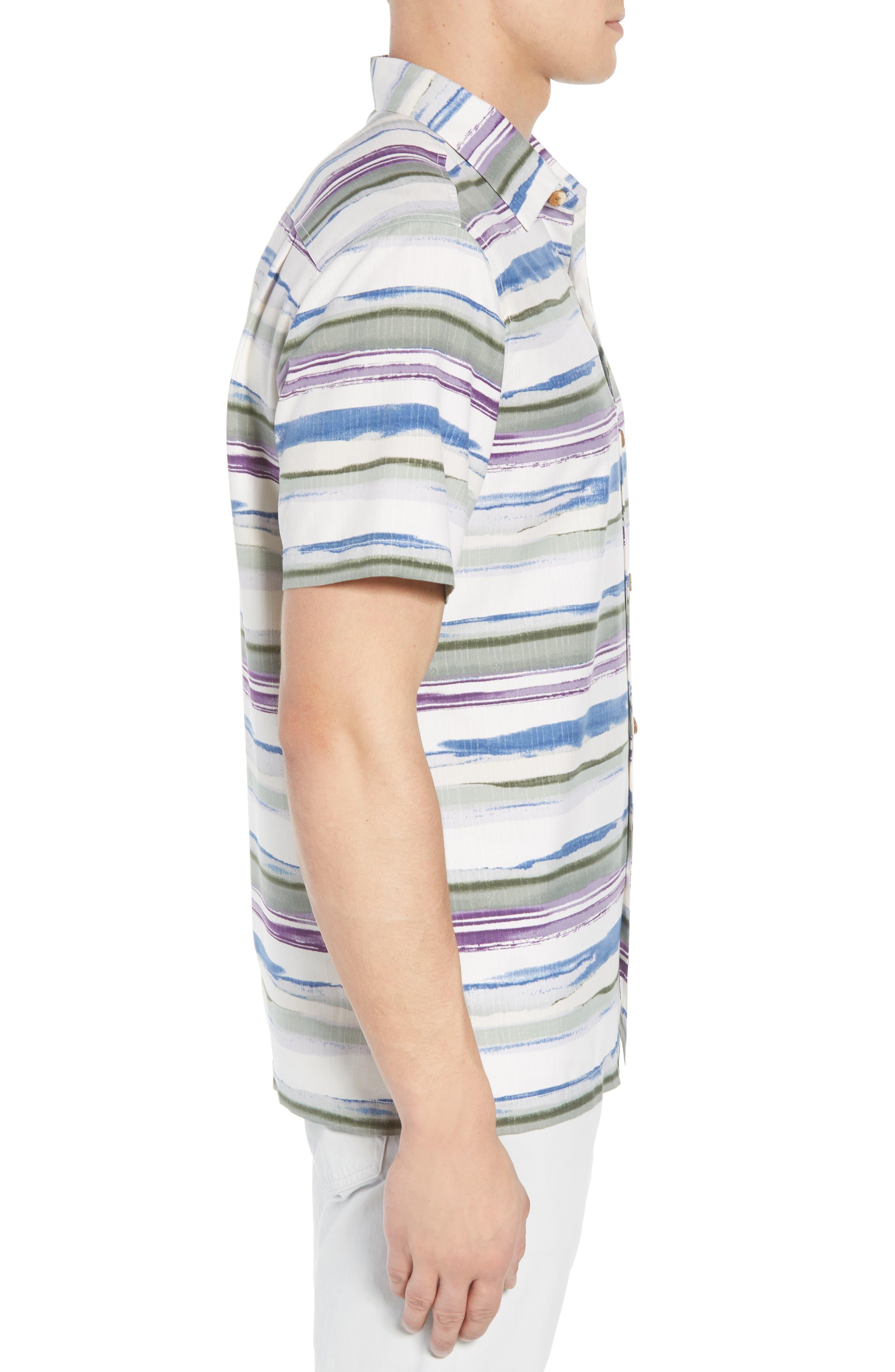 Hazy Horizons Silk Blend Camp Shirt,                             Alternate thumbnail 4, color,                             Grand Canal