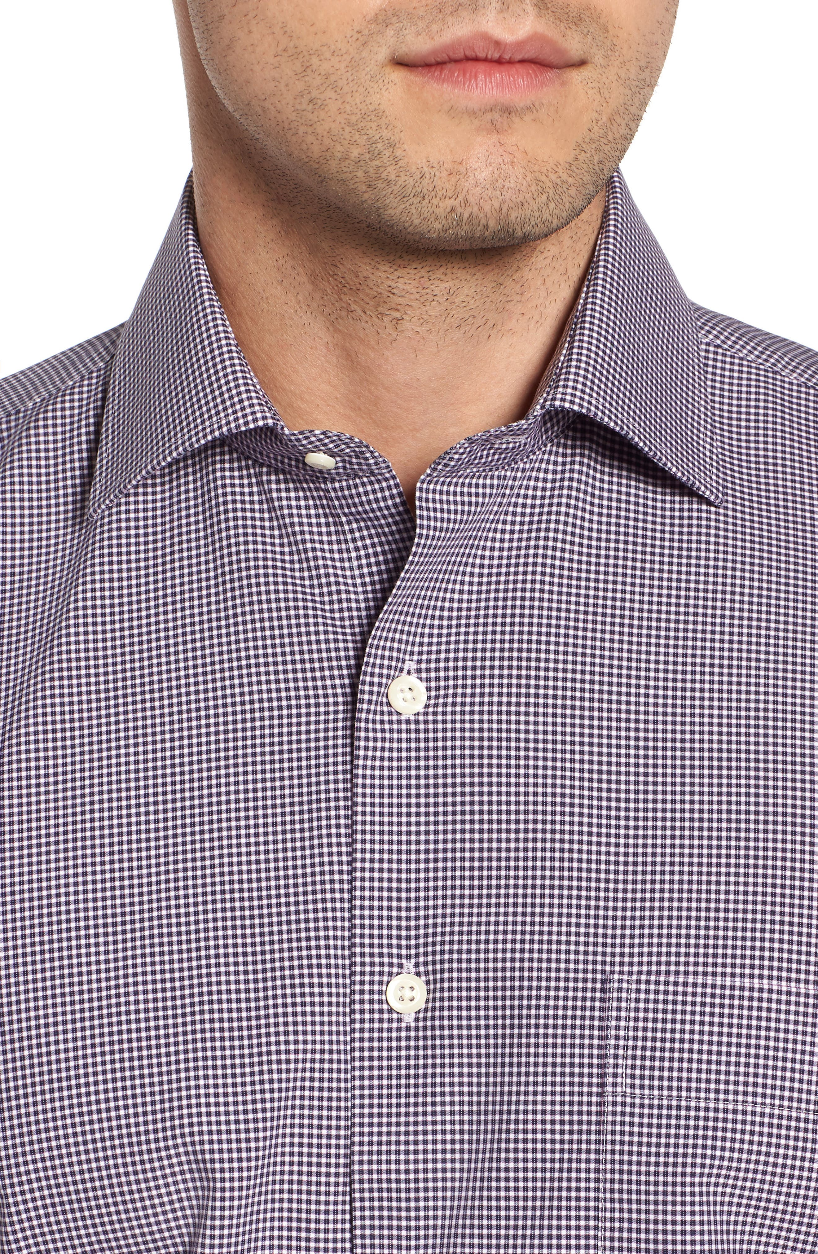 Crown Finish Wedgwood Microcheck Sport Shirt,                             Alternate thumbnail 2, color,                             Navy