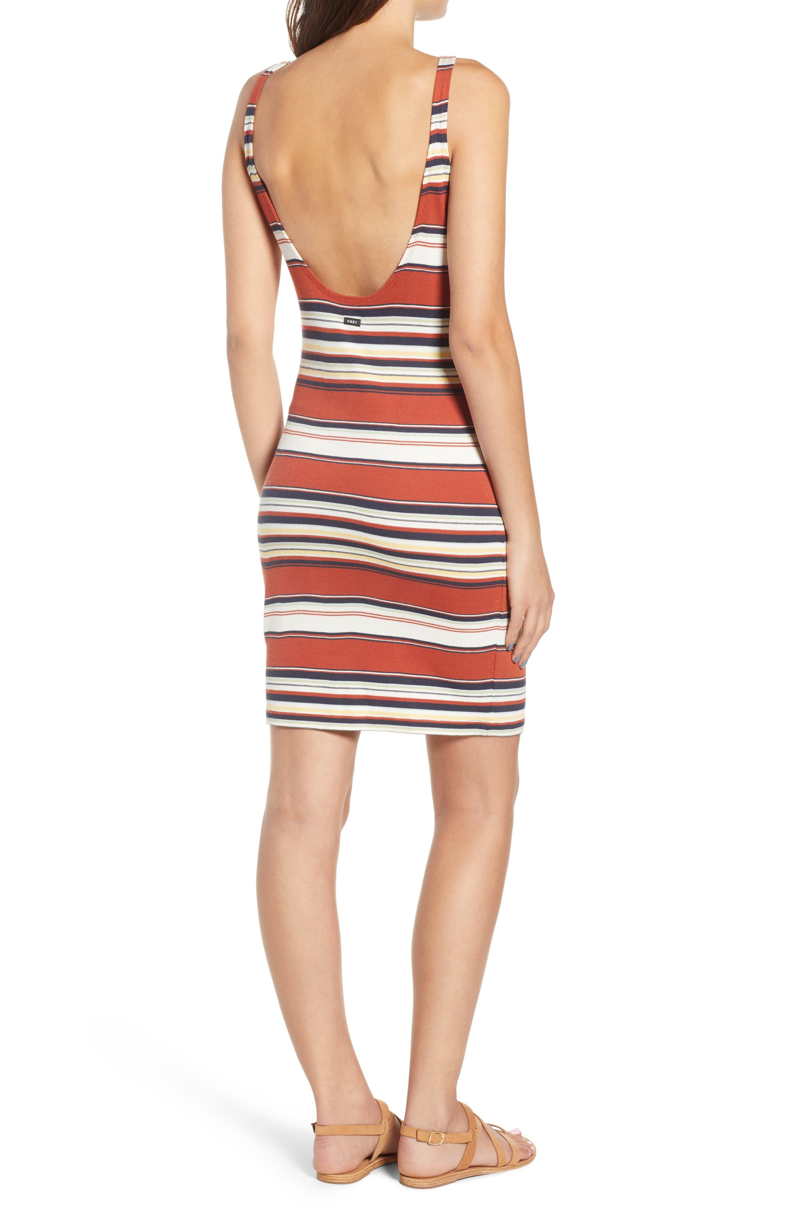 Homesick Stripe Ribbed Dress,                             Alternate thumbnail 2, color,                             Brick Multi