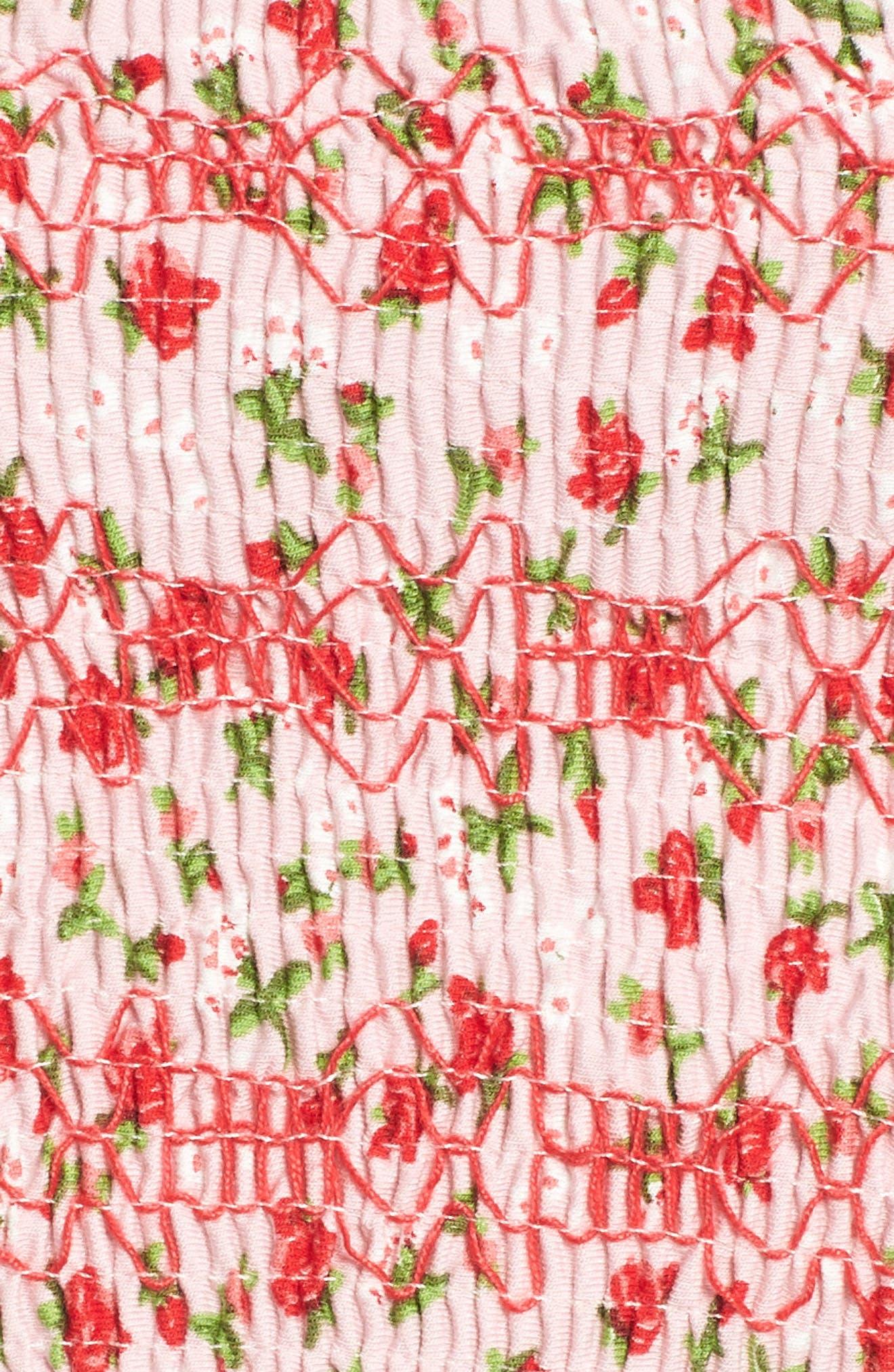 Floral Print Tube Top,                             Alternate thumbnail 5, color,                             Pink Multi