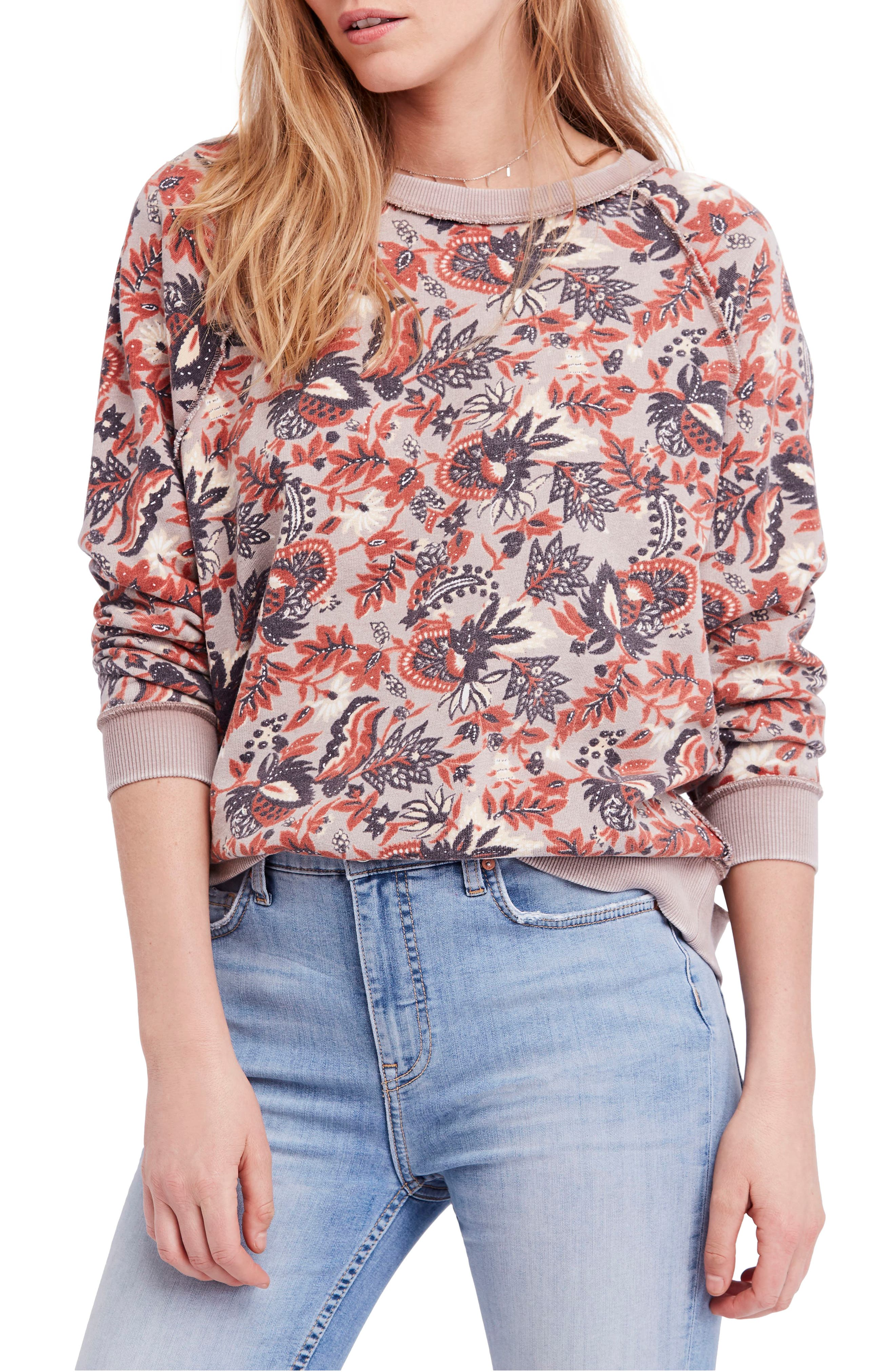 Go on Get Floral Sweatshirt,                             Main thumbnail 1, color,                             Brown