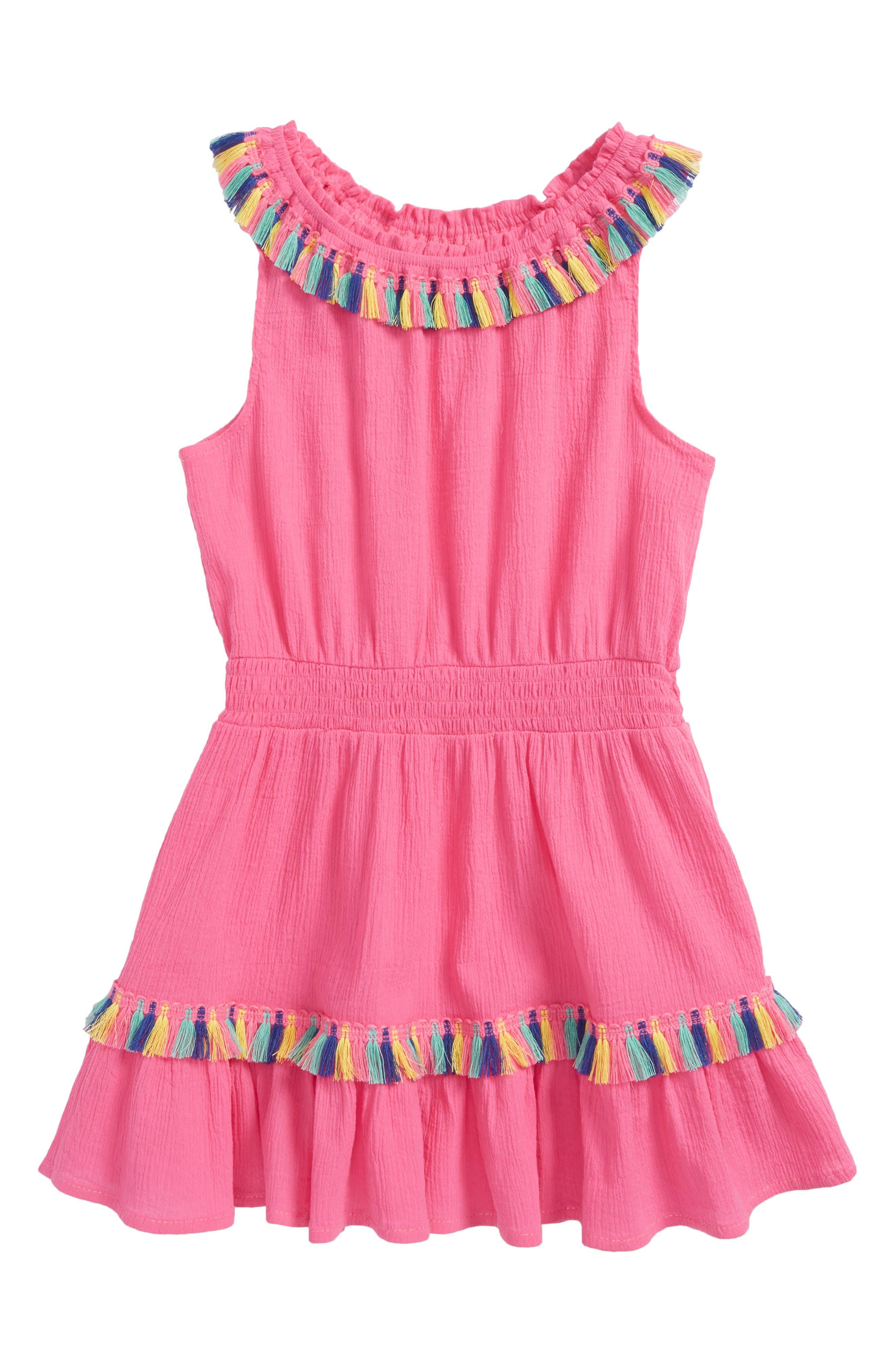 Rainbow Tassel Trim Cover-Up Dress,                         Main,                         color, Hot Pink