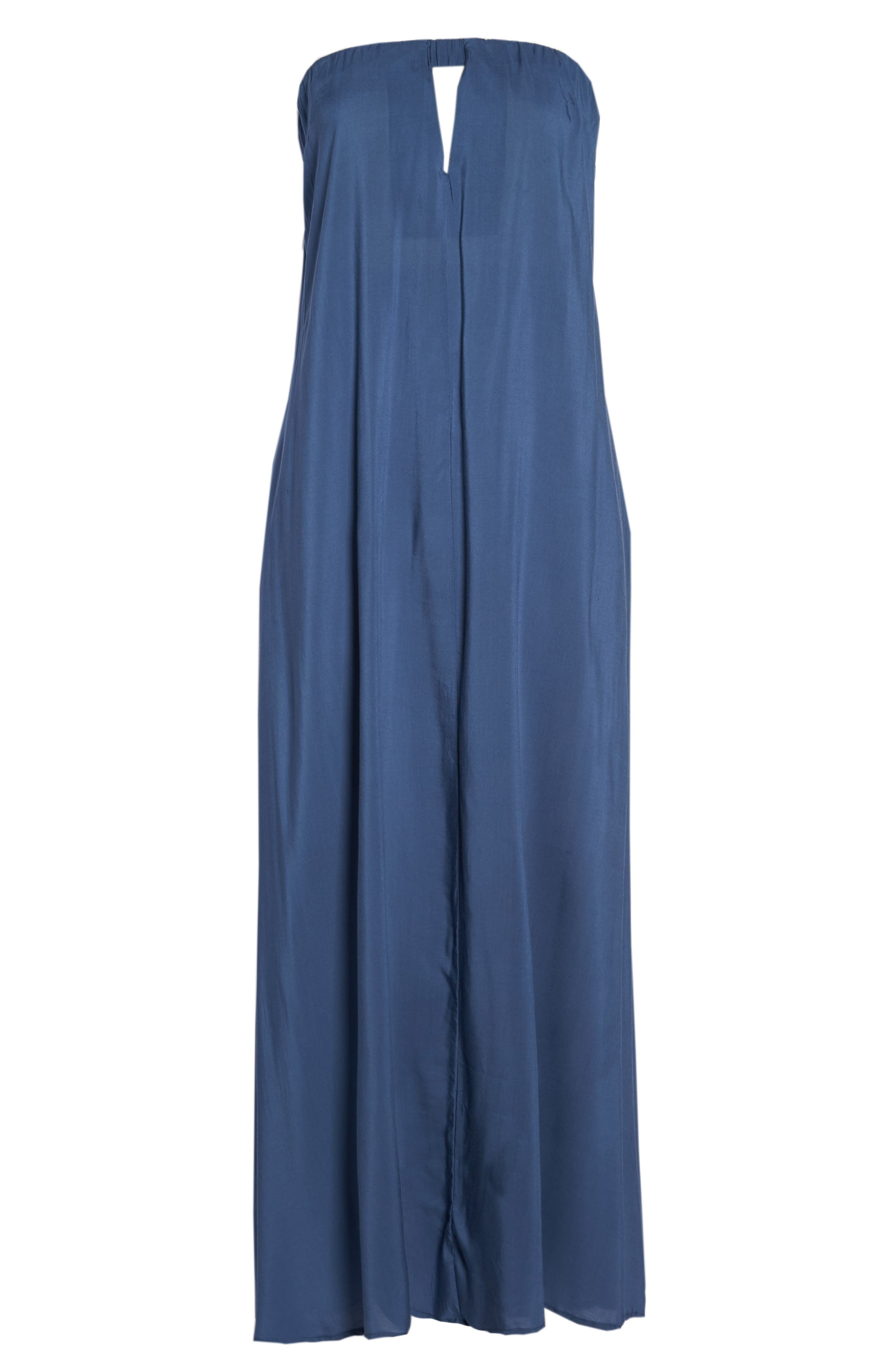 Strapless Keyhole Cover-Up Maxi Dress,                             Alternate thumbnail 6, color,                             Indigo