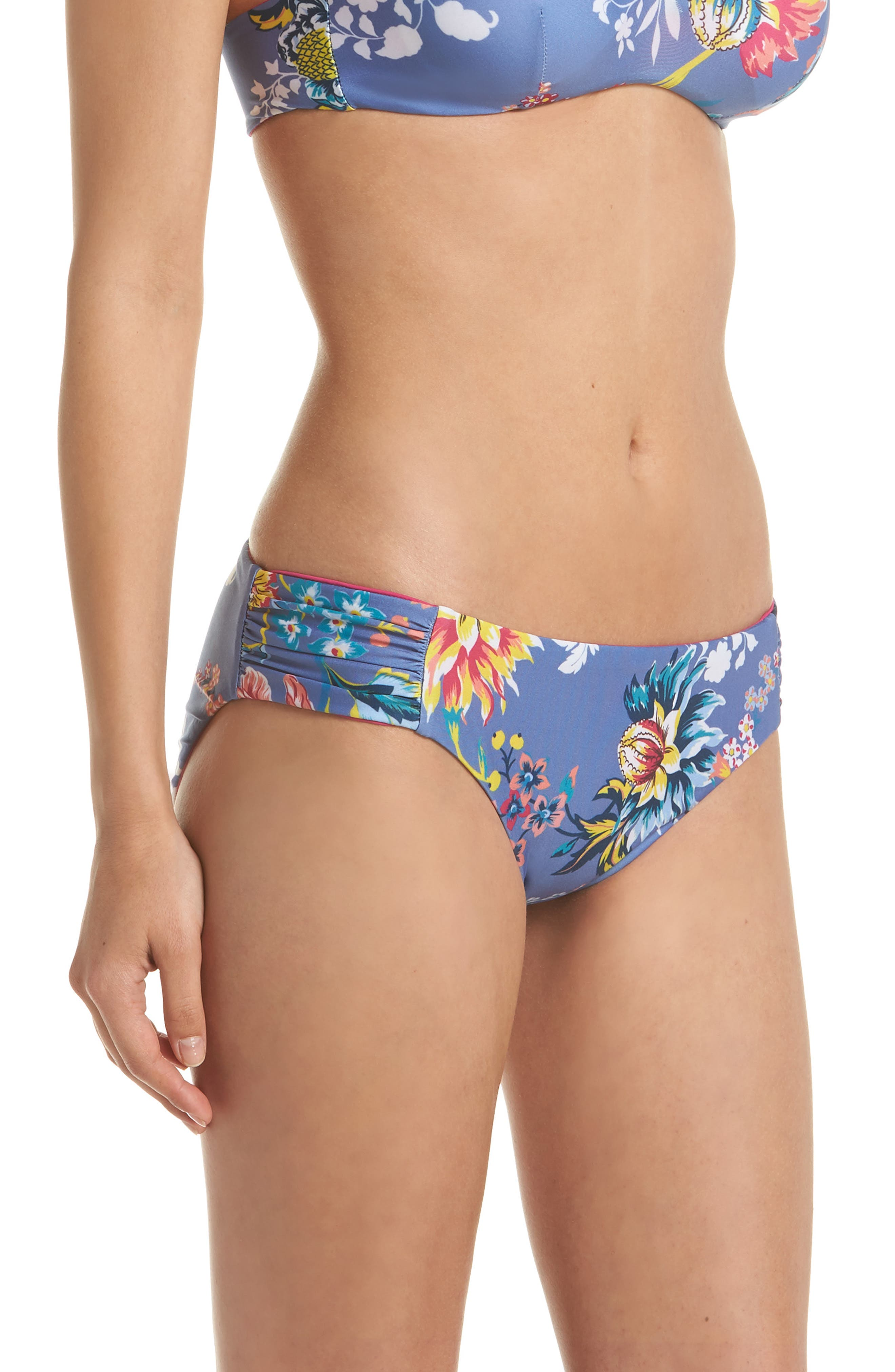 Victoria Garden Reversible Bikini Bottoms,                             Alternate thumbnail 4, color,                             Purple/ Blue Multi