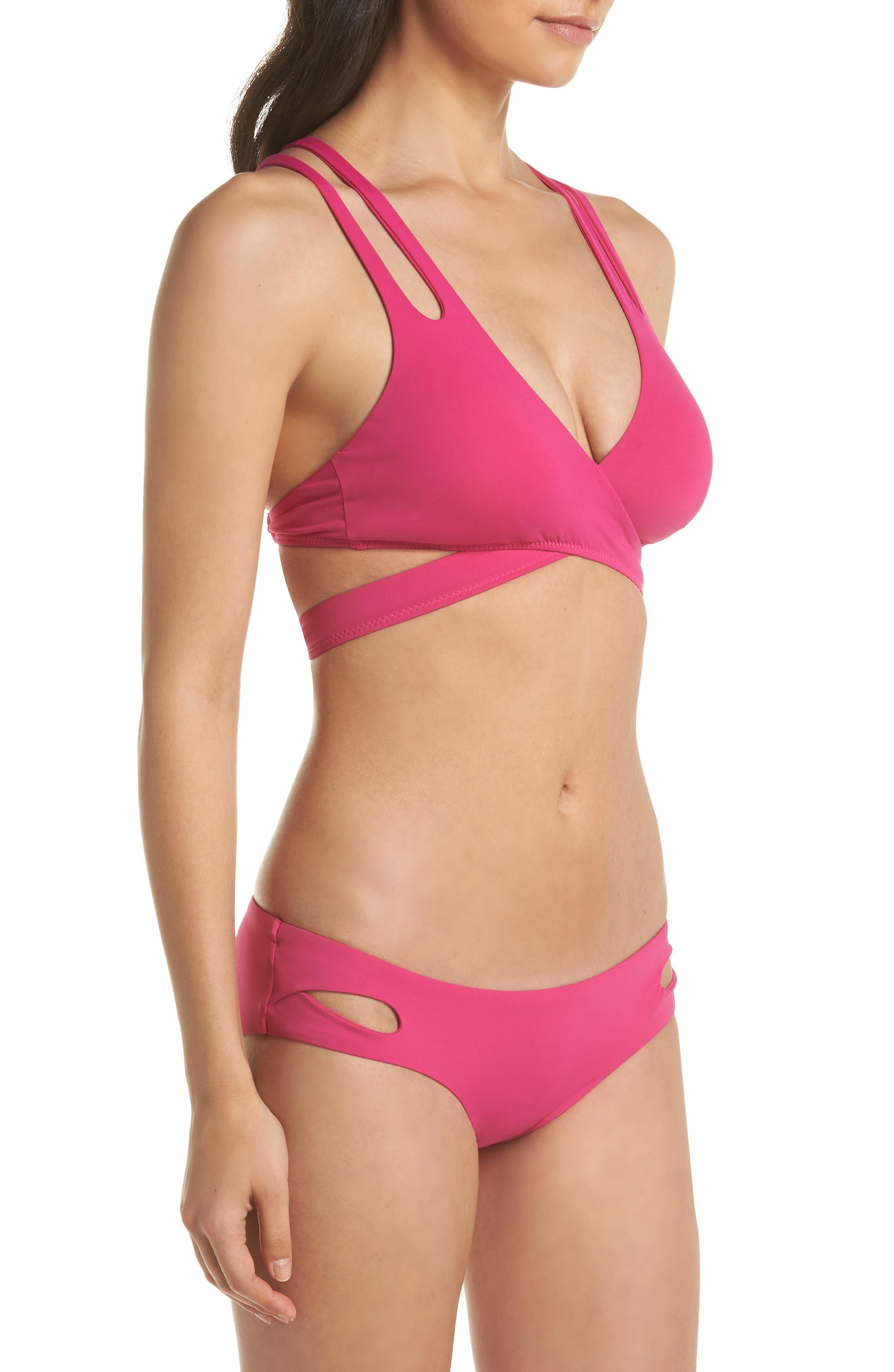 Color Code Wrap Bikini Top,                             Alternate thumbnail 8, color,                             Flamingo