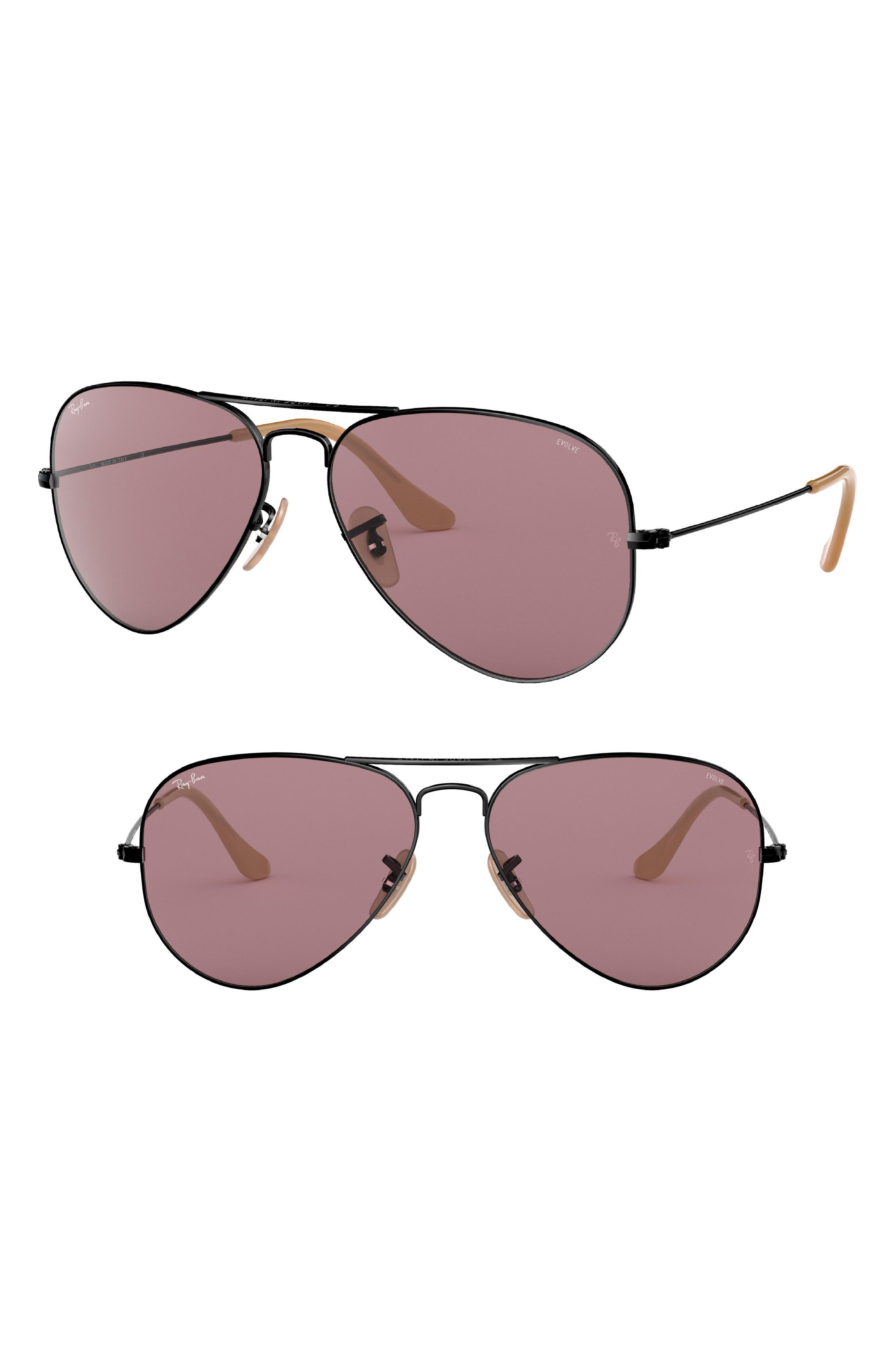 Evolve 55mm Photochromic Aviator Sunglasses,                         Main,                         color, Violet