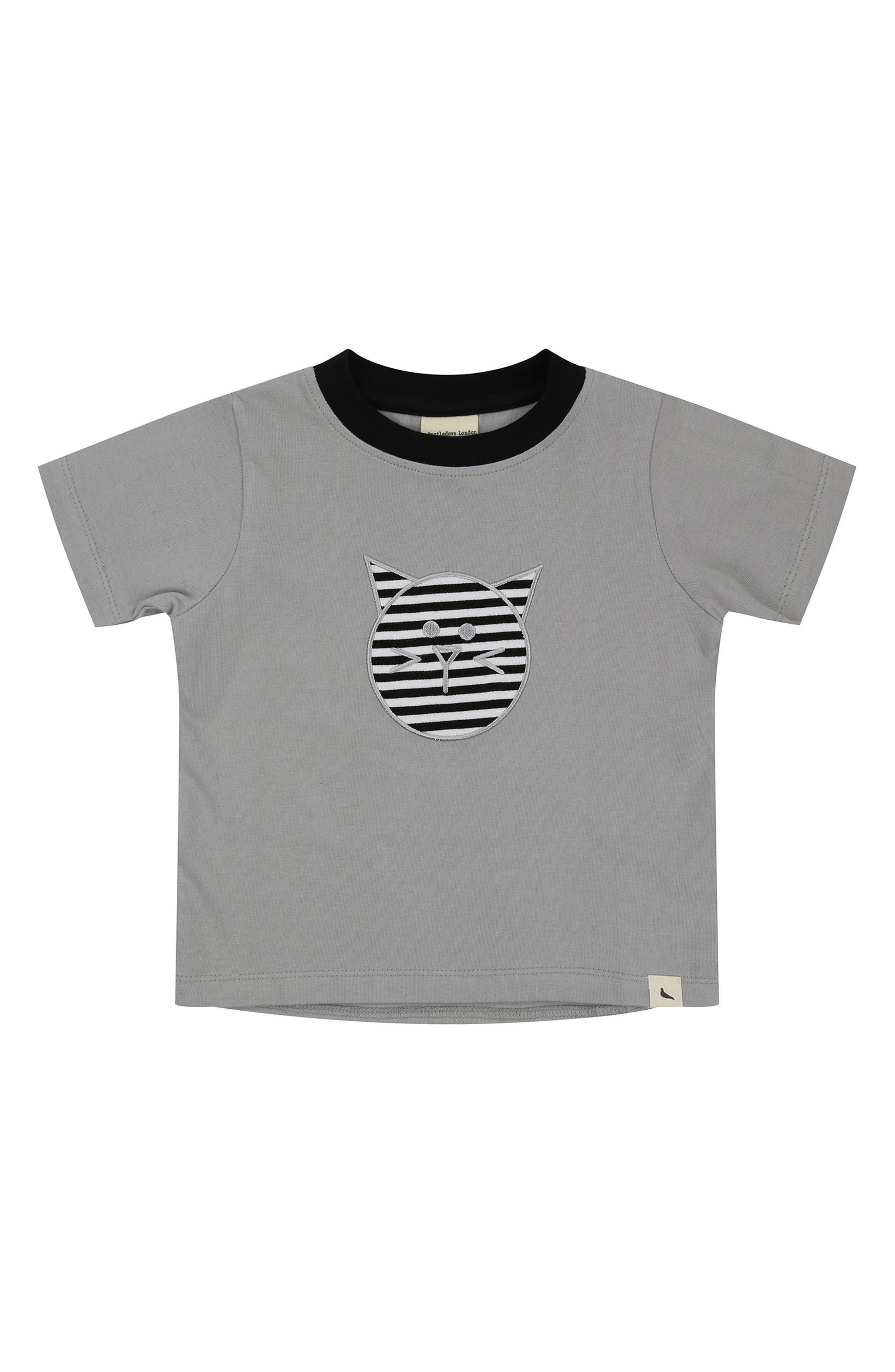 Cat Appliqué Organic Cotton T-Shirt,                         Main,                         color, Grey