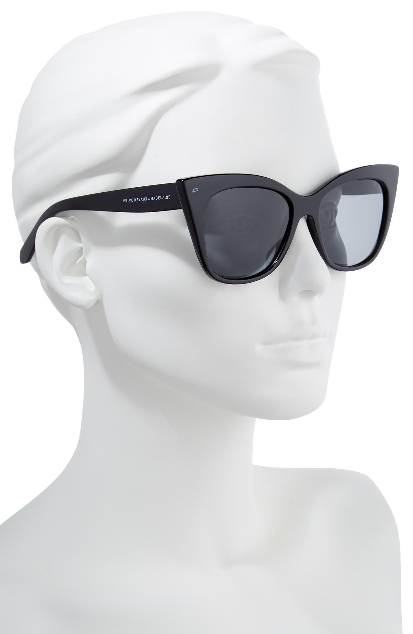 Privé Revaux x Madelaine Petsch The Mister 54mm Cat Eye Sunglasses,                             Alternate thumbnail 3, color,                             Black/ Black