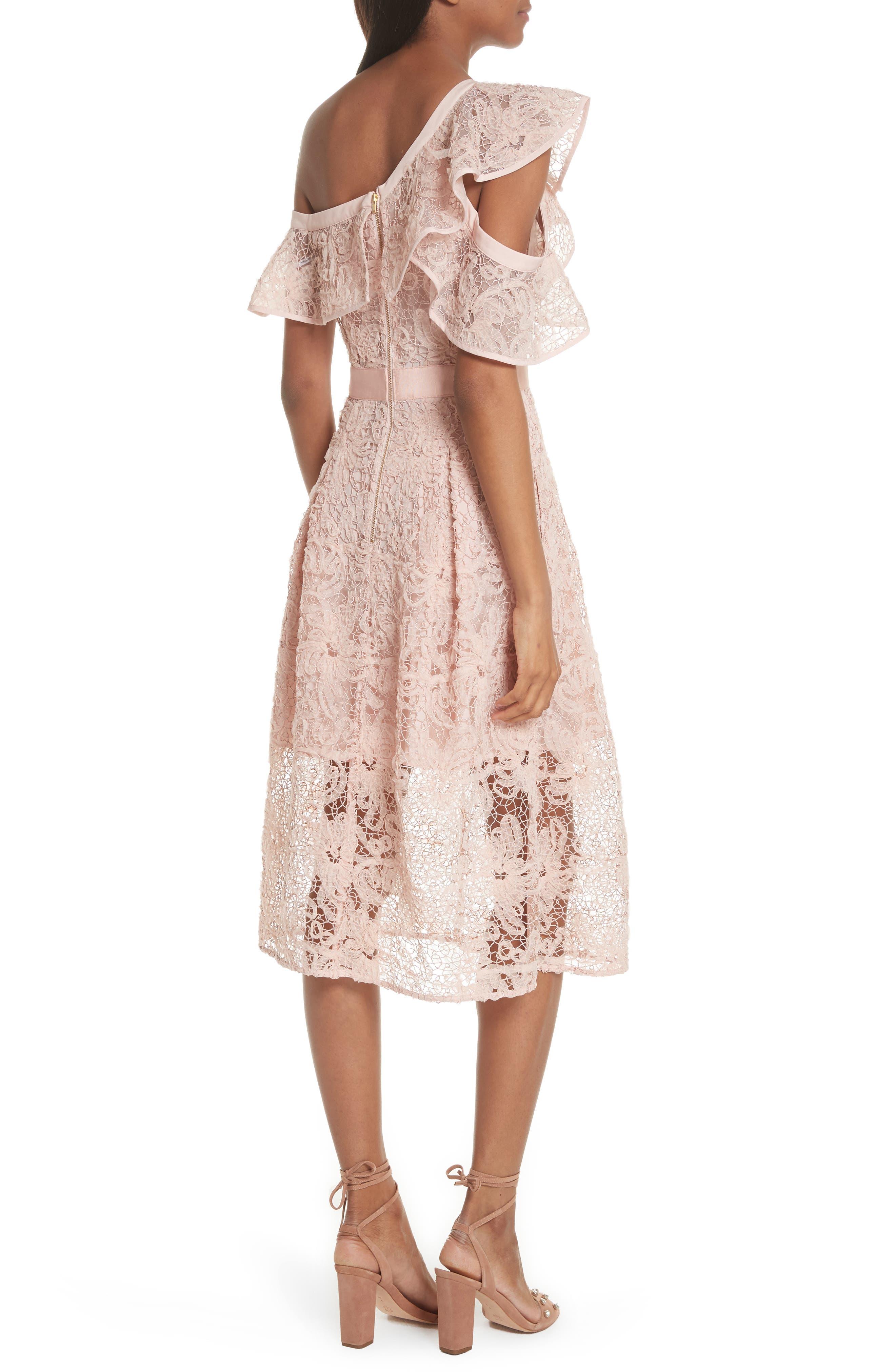 Lace Shoulder Cutout Midi Dress,                             Alternate thumbnail 2, color,                             Pink