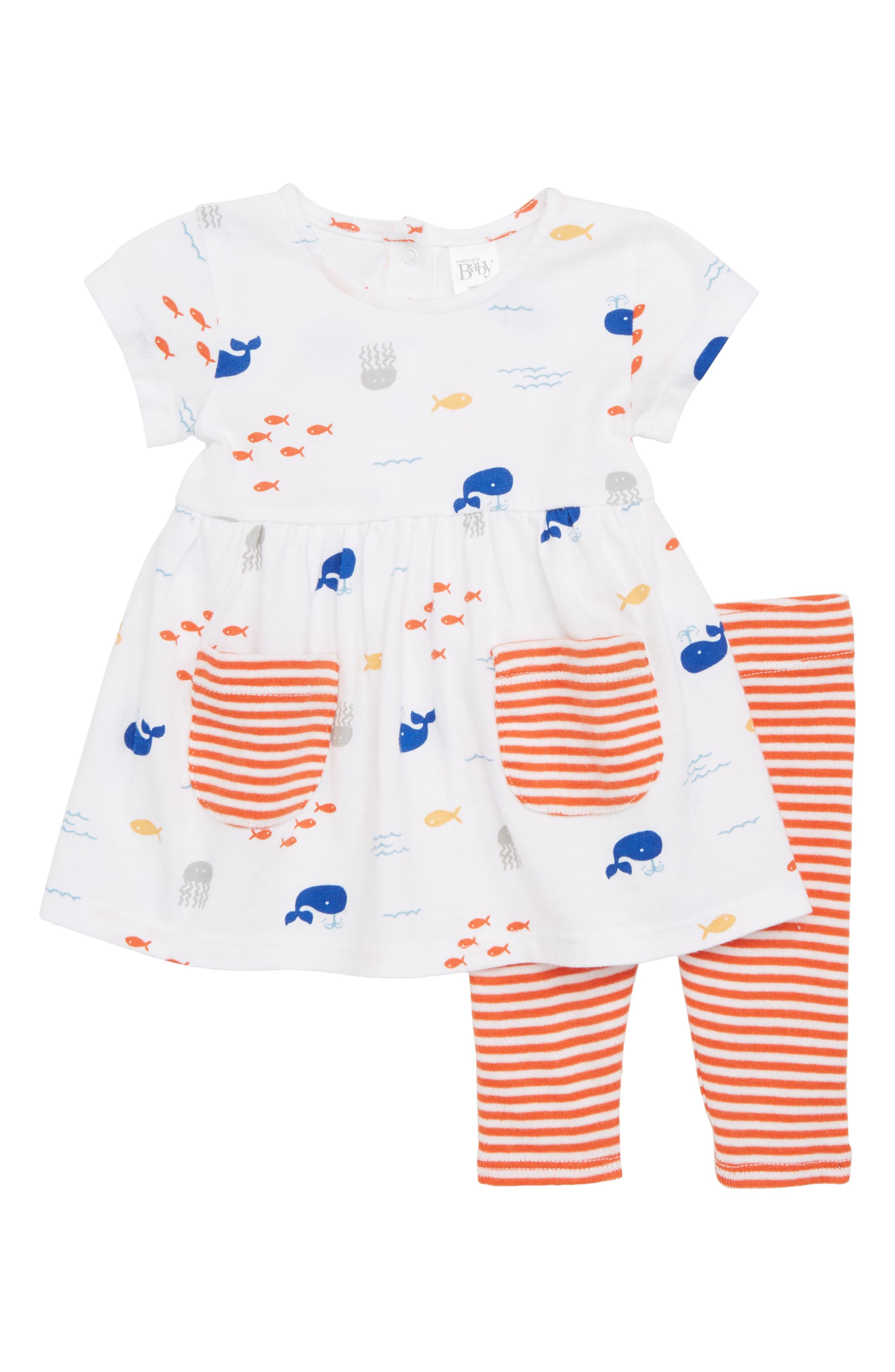 Nordstrom Baby Pocket Dress & Leggings Set (Baby Girls)