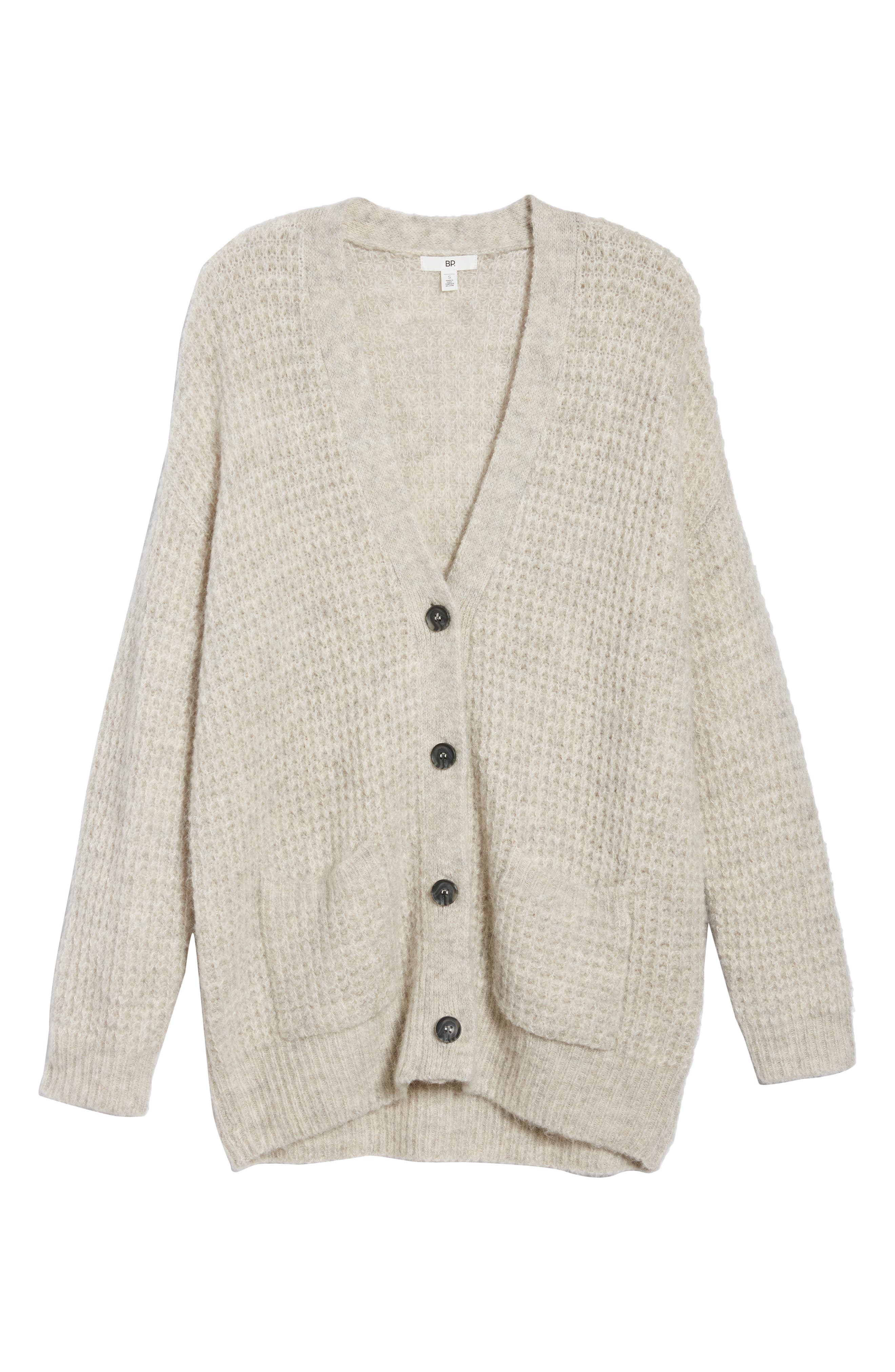 Oversized Waffle Stitch Cardigan,                             Alternate thumbnail 7, color,                             Beige Birch