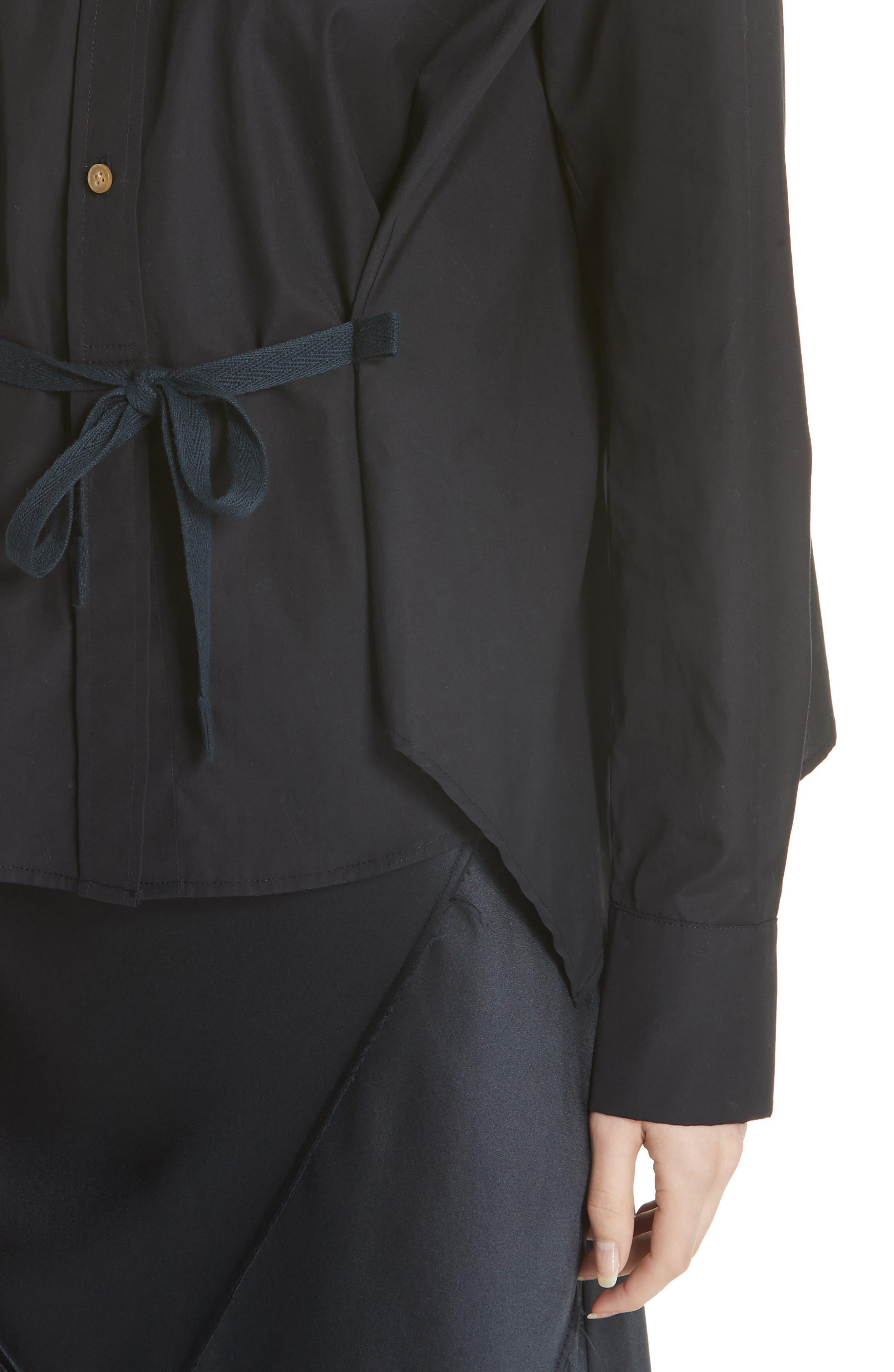 Tie Front Cotton Blouse,                             Alternate thumbnail 4, color,                             Coastal
