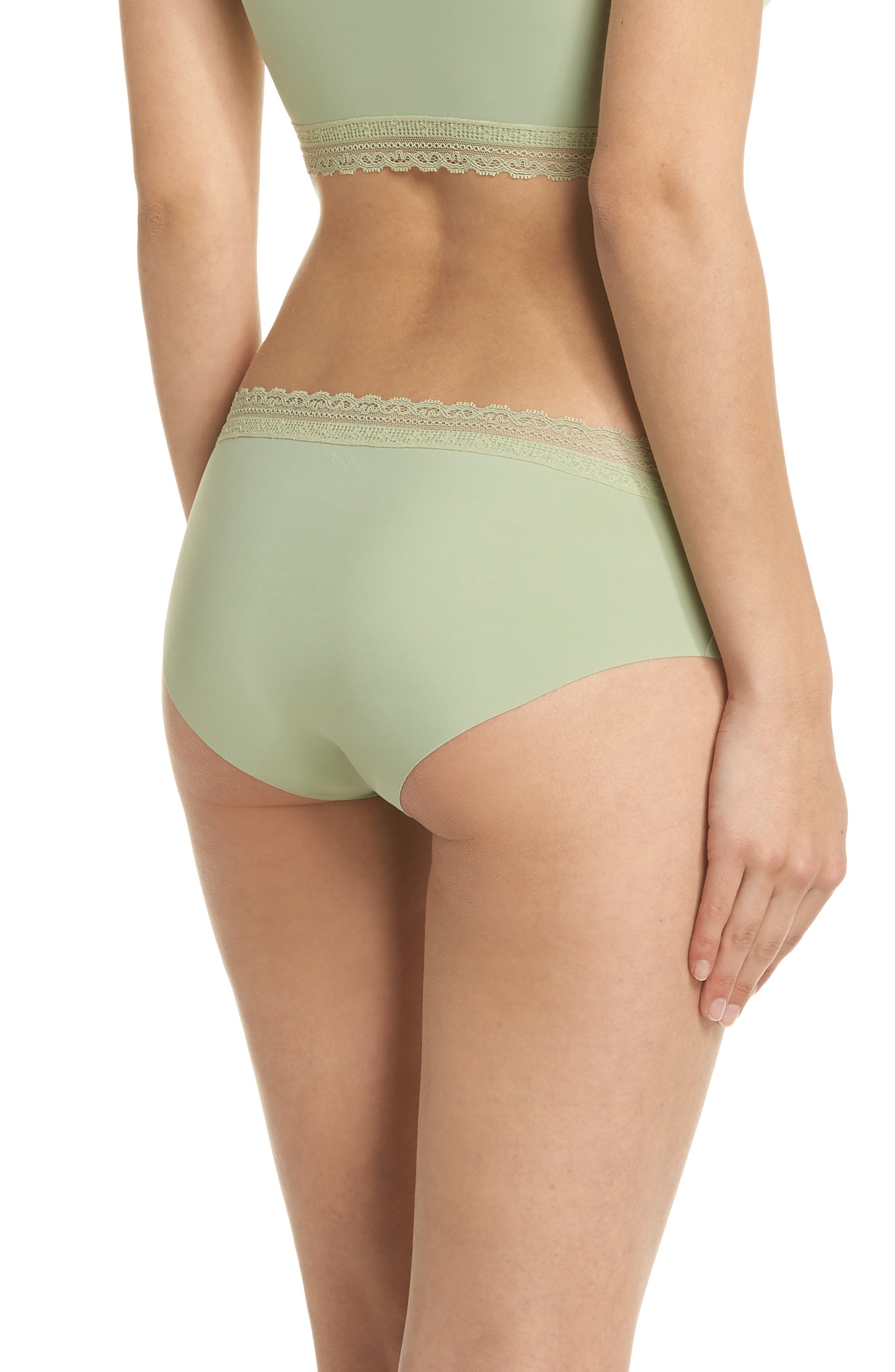 Almost Naked Lace Trim Hipster Briefs,                             Alternate thumbnail 2, color,                             Green Tea