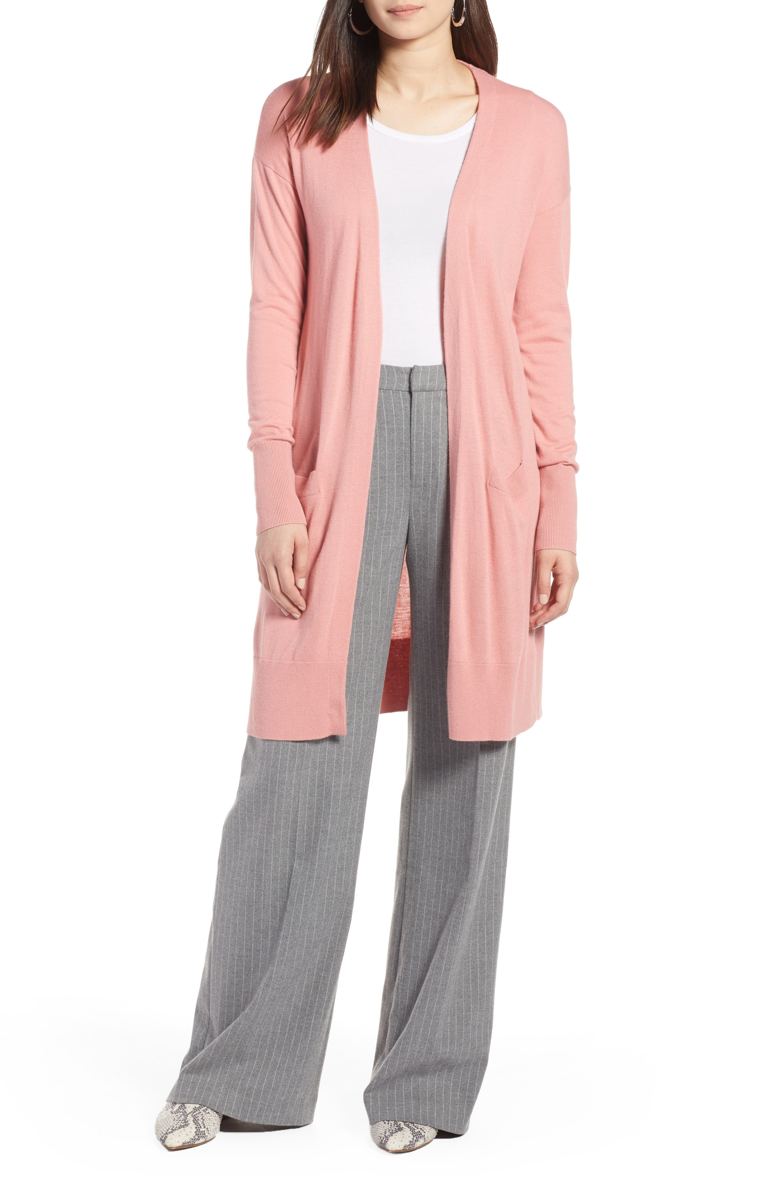 Open Front Pocket Cardigan,                         Main,                         color, Pink Apricot