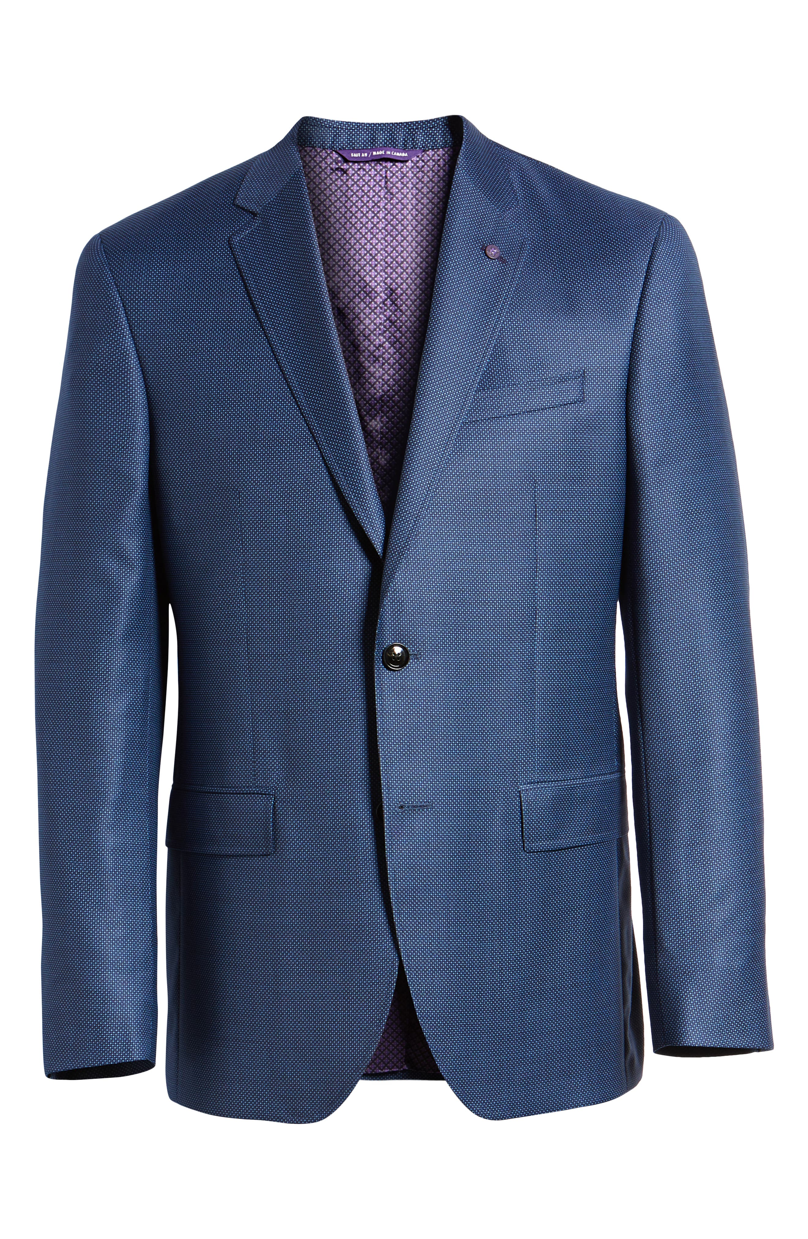 Jay Trim Fit Microdot Wool Sport Coat,                             Alternate thumbnail 6, color,                             Blue