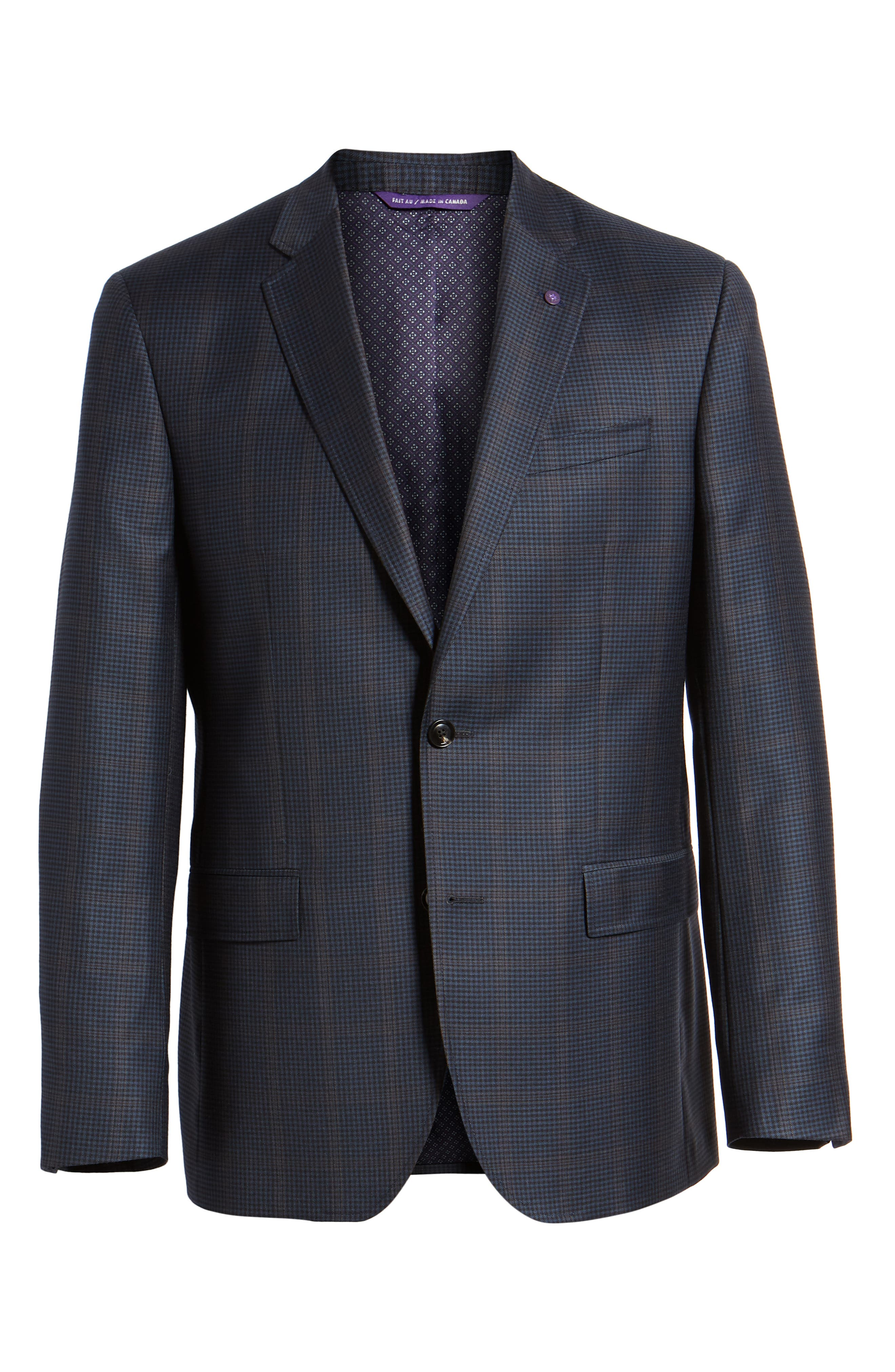 Jay Trim Fit Houndstooth Wool Sport Coat,                             Alternate thumbnail 6, color,                             Blue