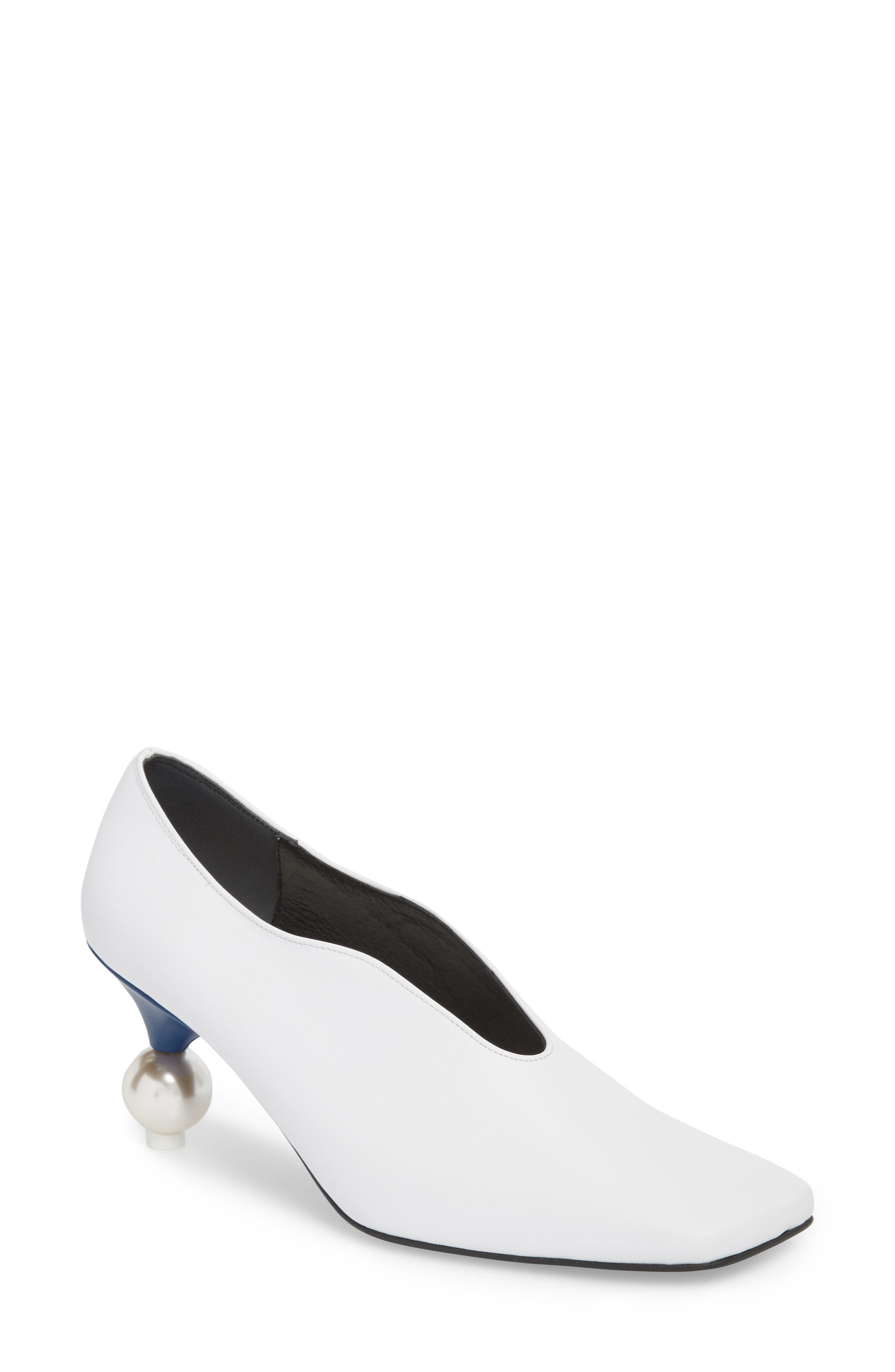 Statement Heel Pump,                             Main thumbnail 1, color,                             White/ Navy