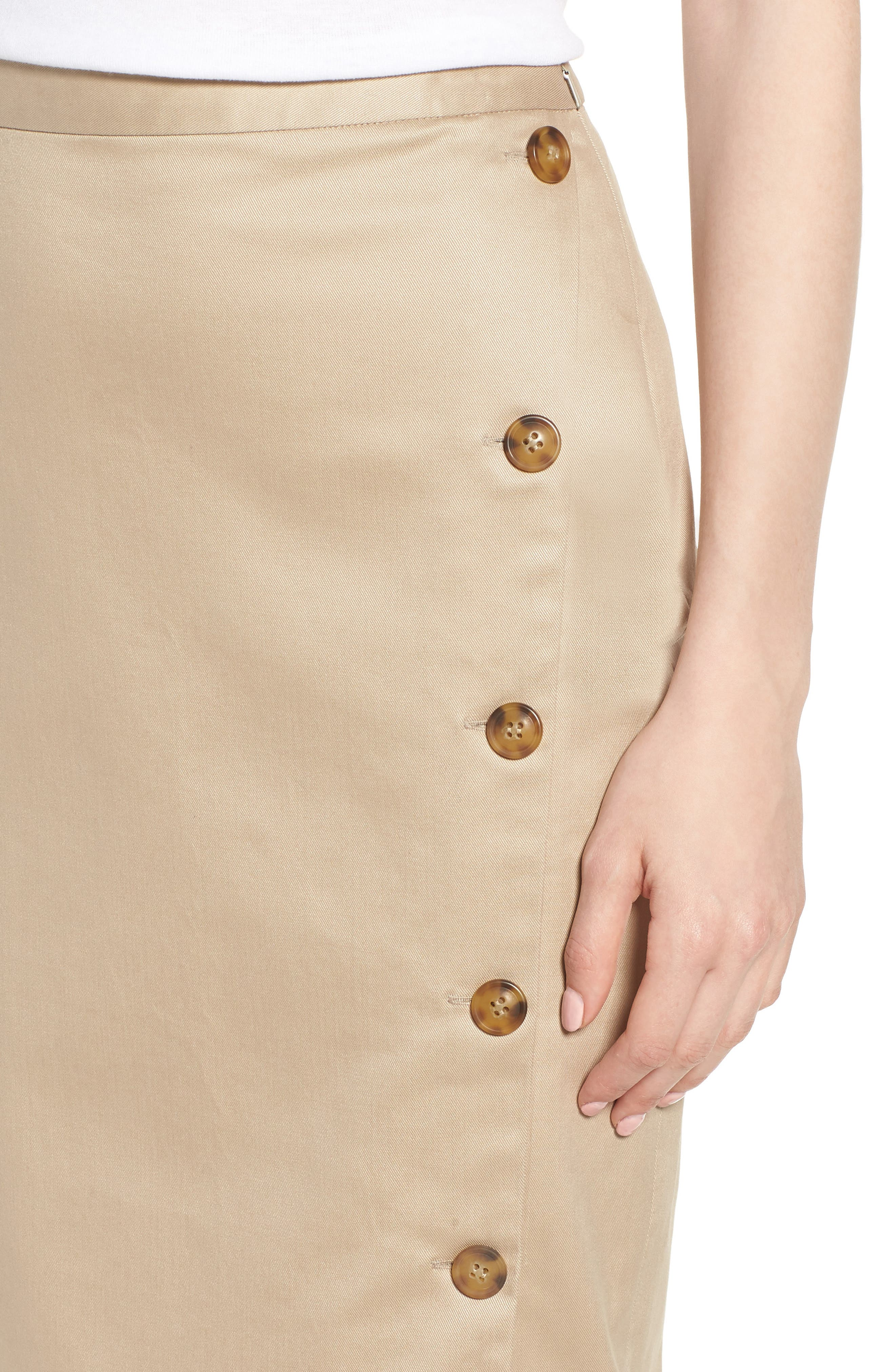 Side Slit Cotton Blend Pencil Skirt,                             Alternate thumbnail 4, color,                             Tan