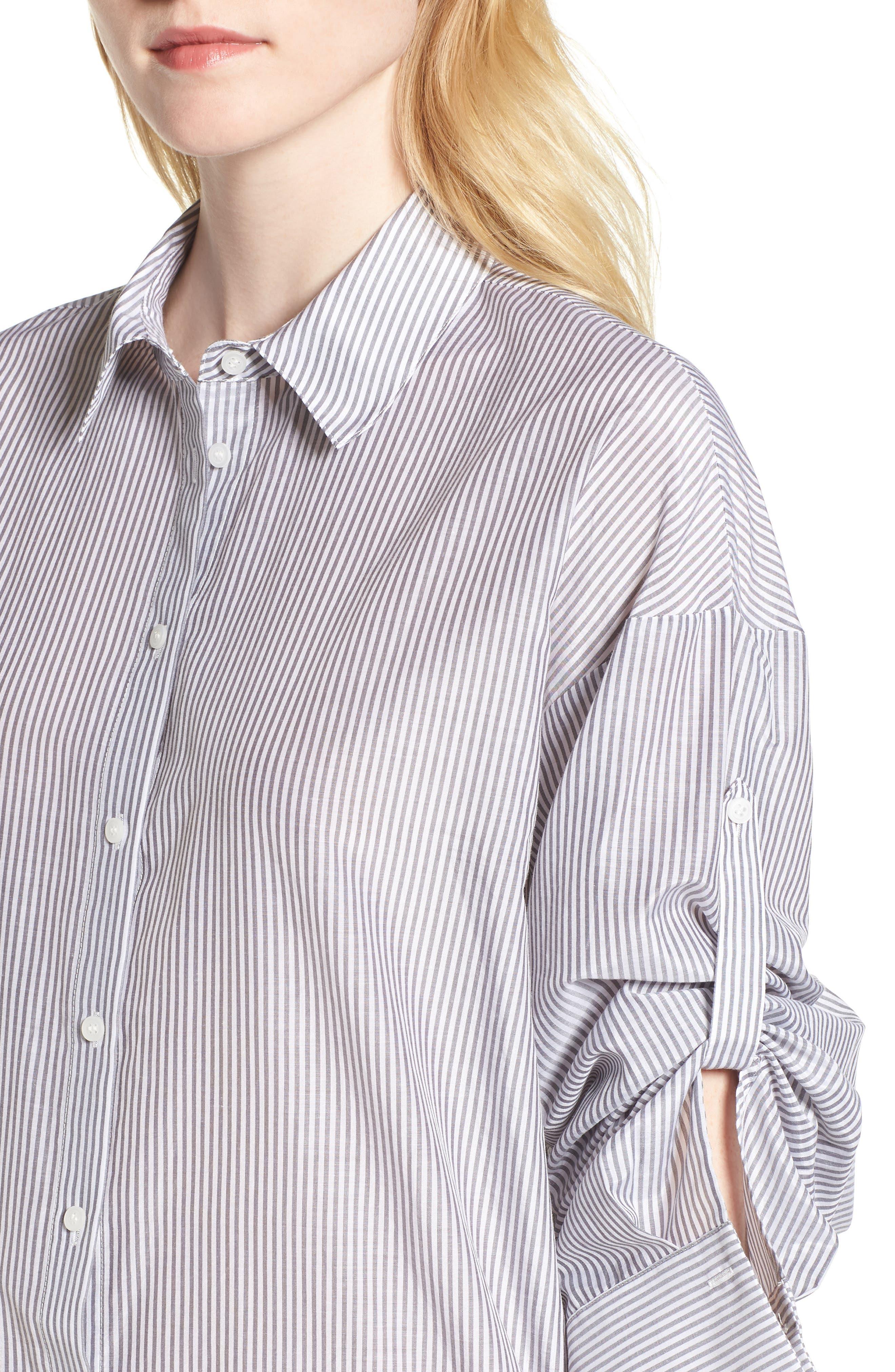 Stripe Cotton & Silk Shirtdress,                             Alternate thumbnail 4, color,                             White- Grey Even Stripe