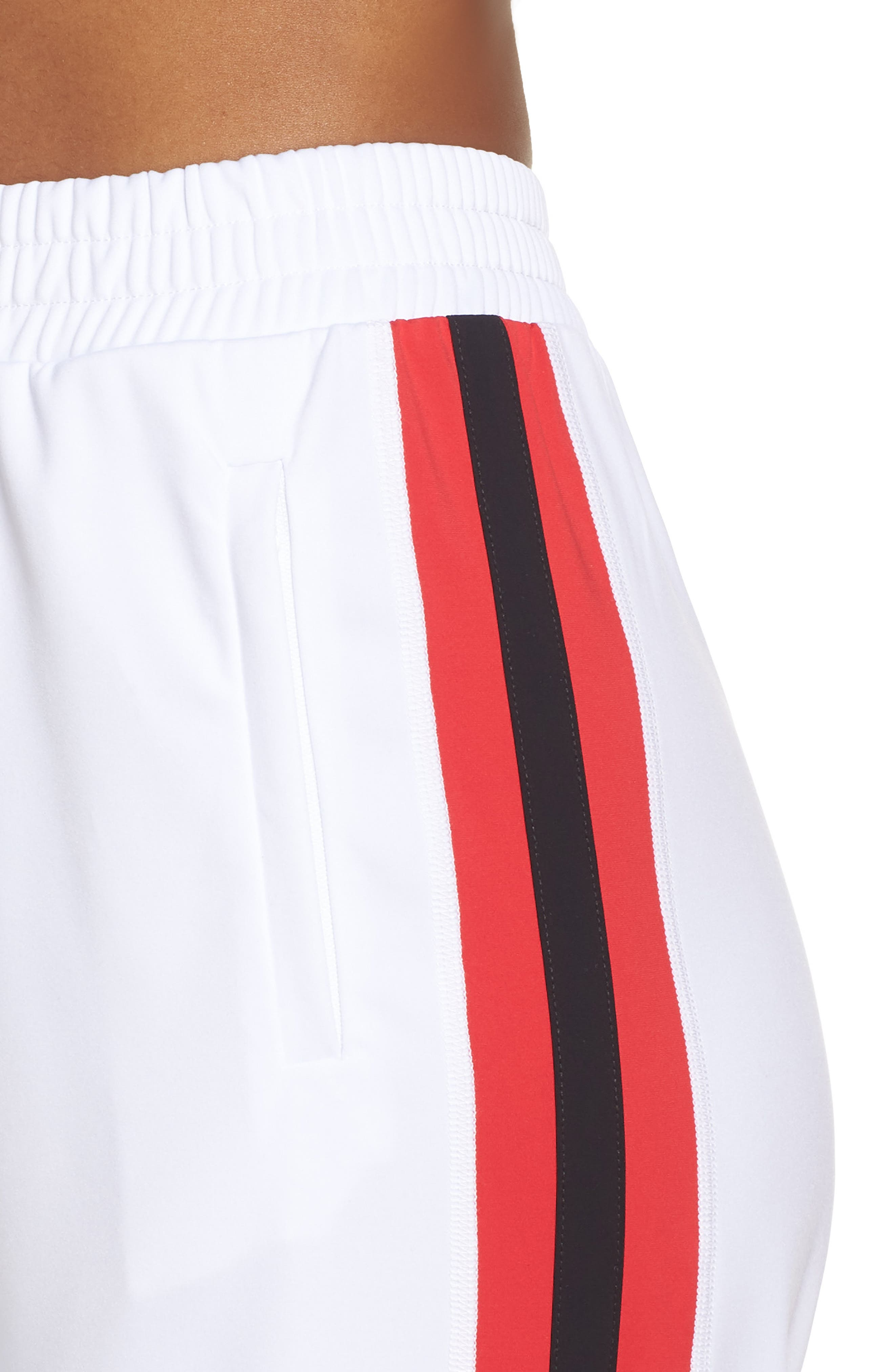 Wide Leg Track Pants,                             Alternate thumbnail 4, color,                             White/ Red/ Black