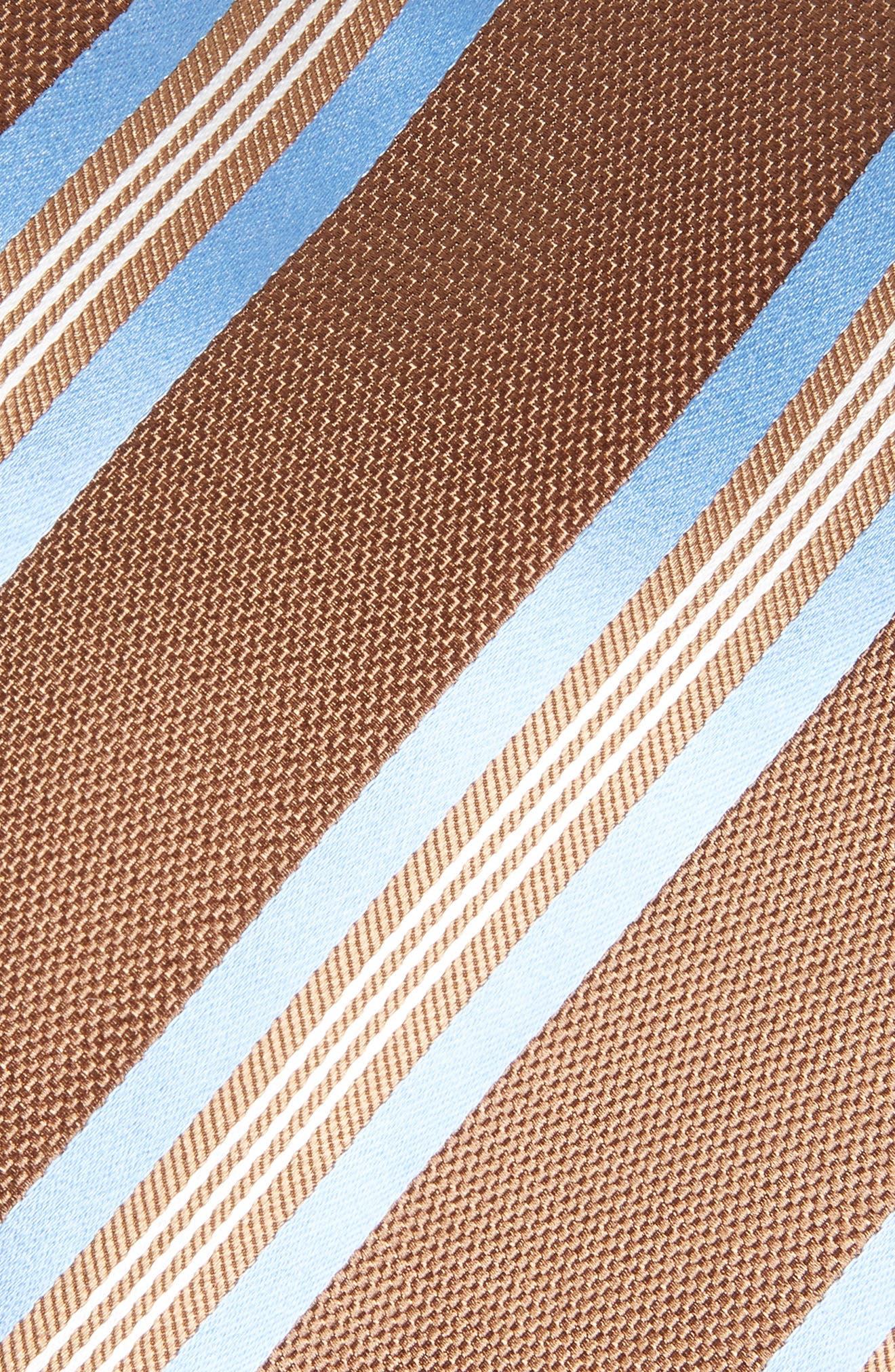 Stripe Silk Tie,                             Alternate thumbnail 2, color,                             Chocolate