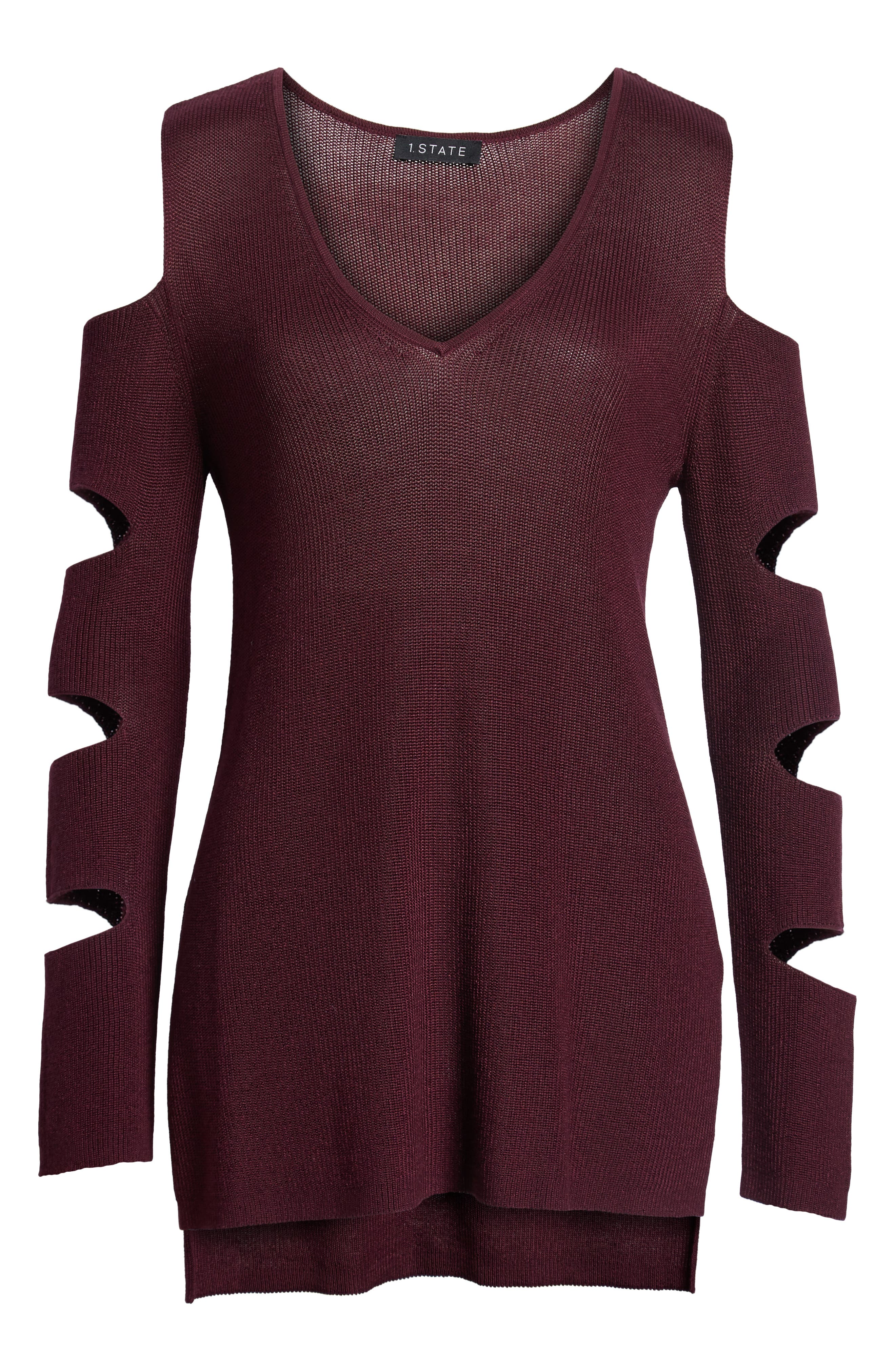 Cutout Sweater,                             Alternate thumbnail 7, color,                             Warm Plum