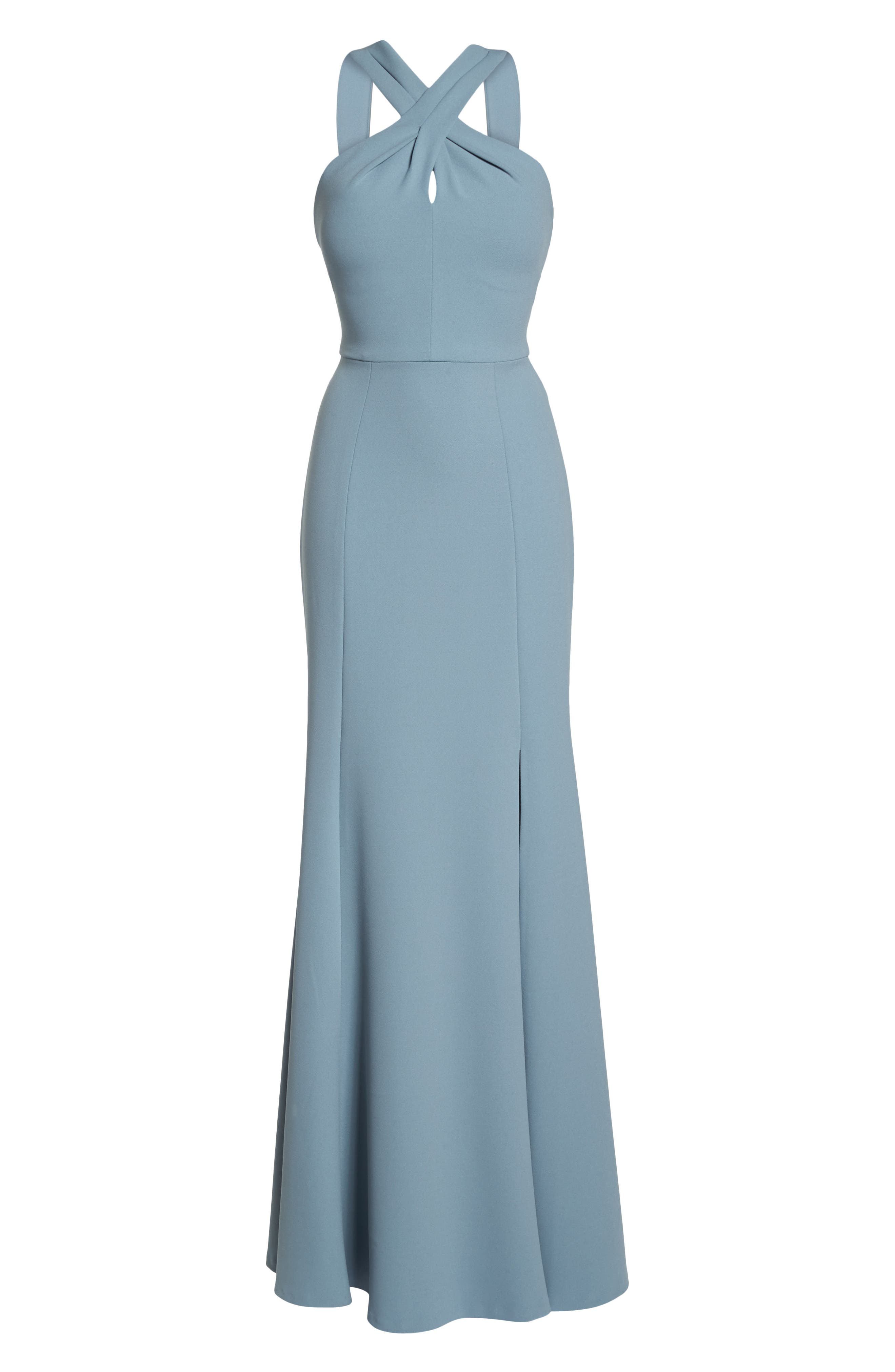 Kayleigh Cross Front Crepe Knit Gown,                             Alternate thumbnail 7, color,                             Mayan Blue