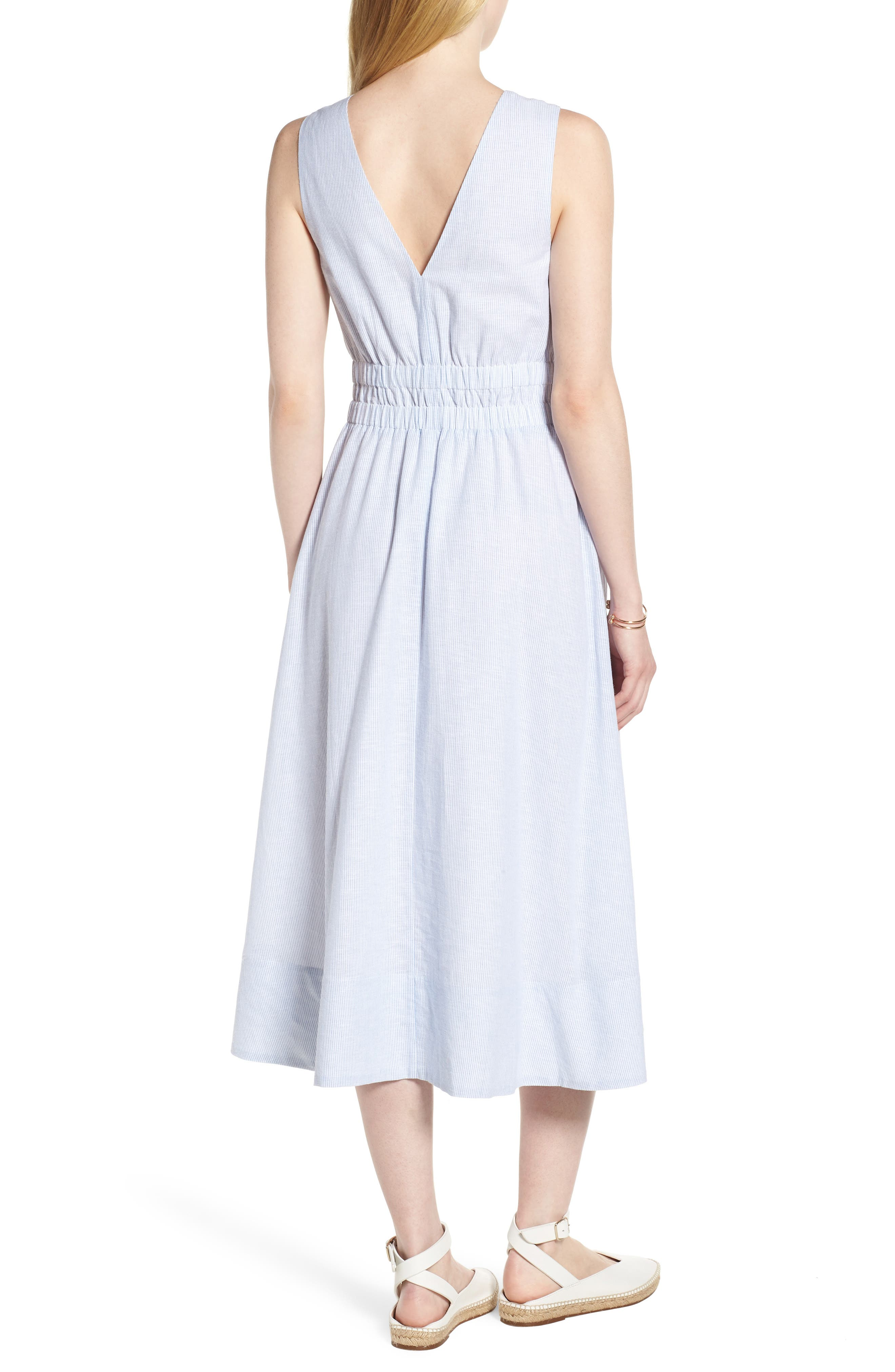 Smocked Waist Pinstripe Midi Dress,                             Alternate thumbnail 2, color,                             White- Blue Mini Stripe